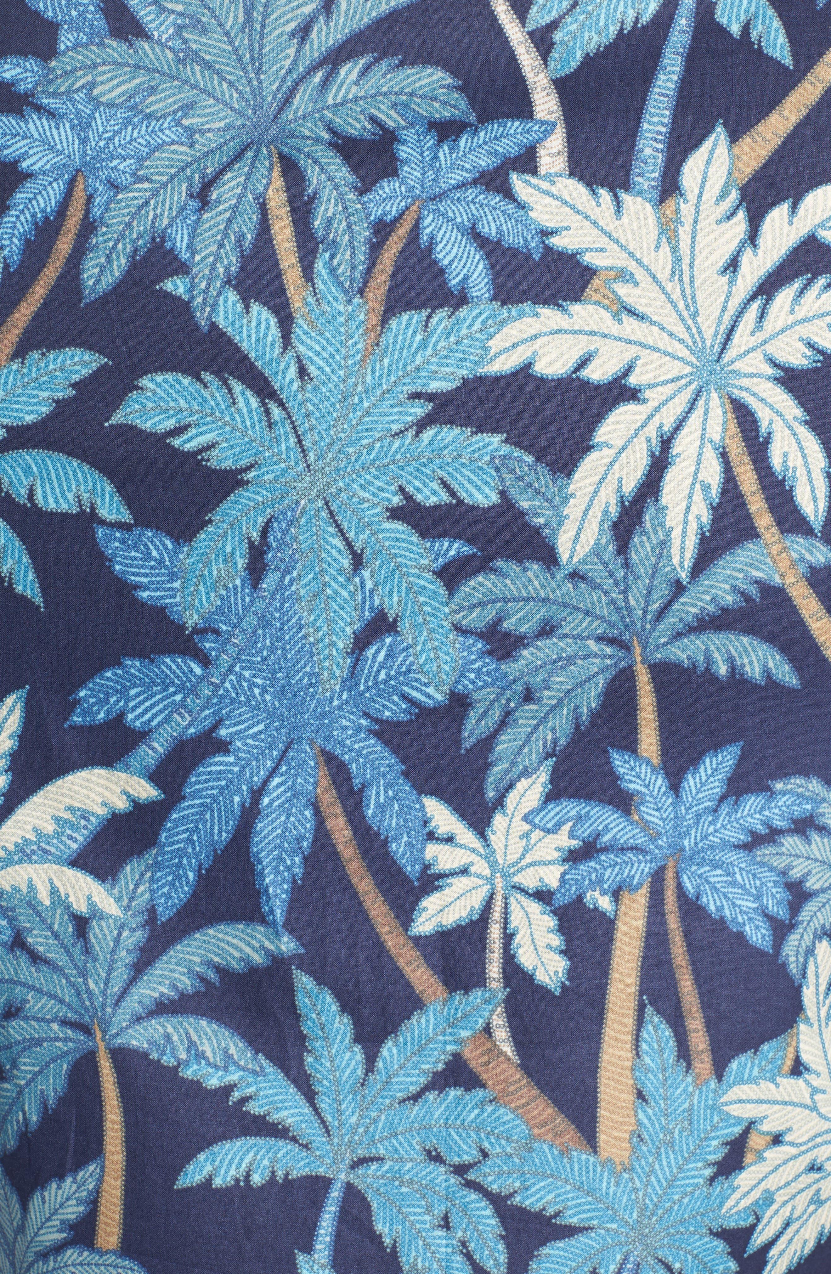 Pick a Palm Trim Fit Camp Shirt,                             Alternate thumbnail 5, color,                             NAVY
