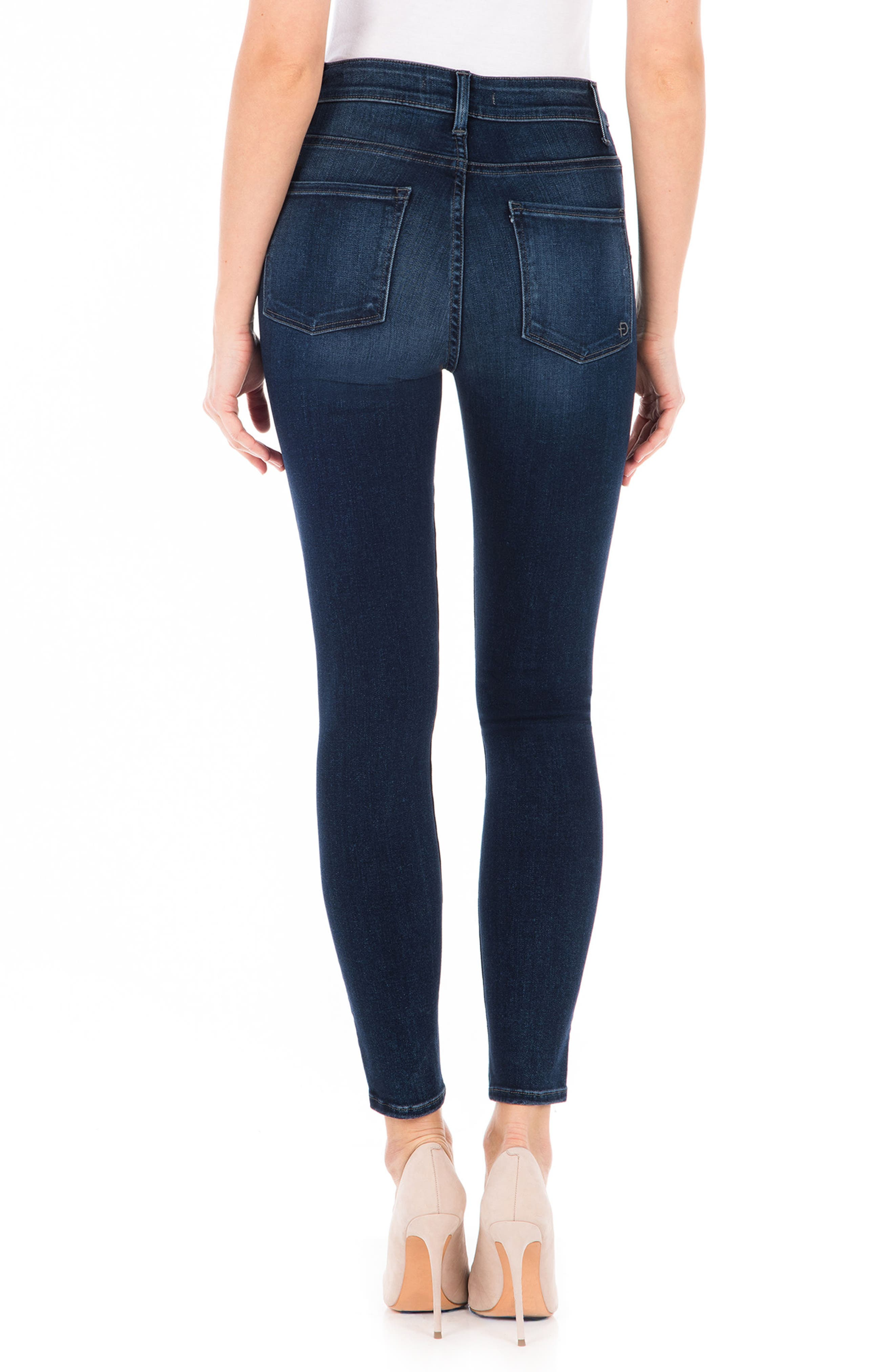 Luna High Waist Skinny Jeans,                             Alternate thumbnail 2, color,                             BLUE SUEDE
