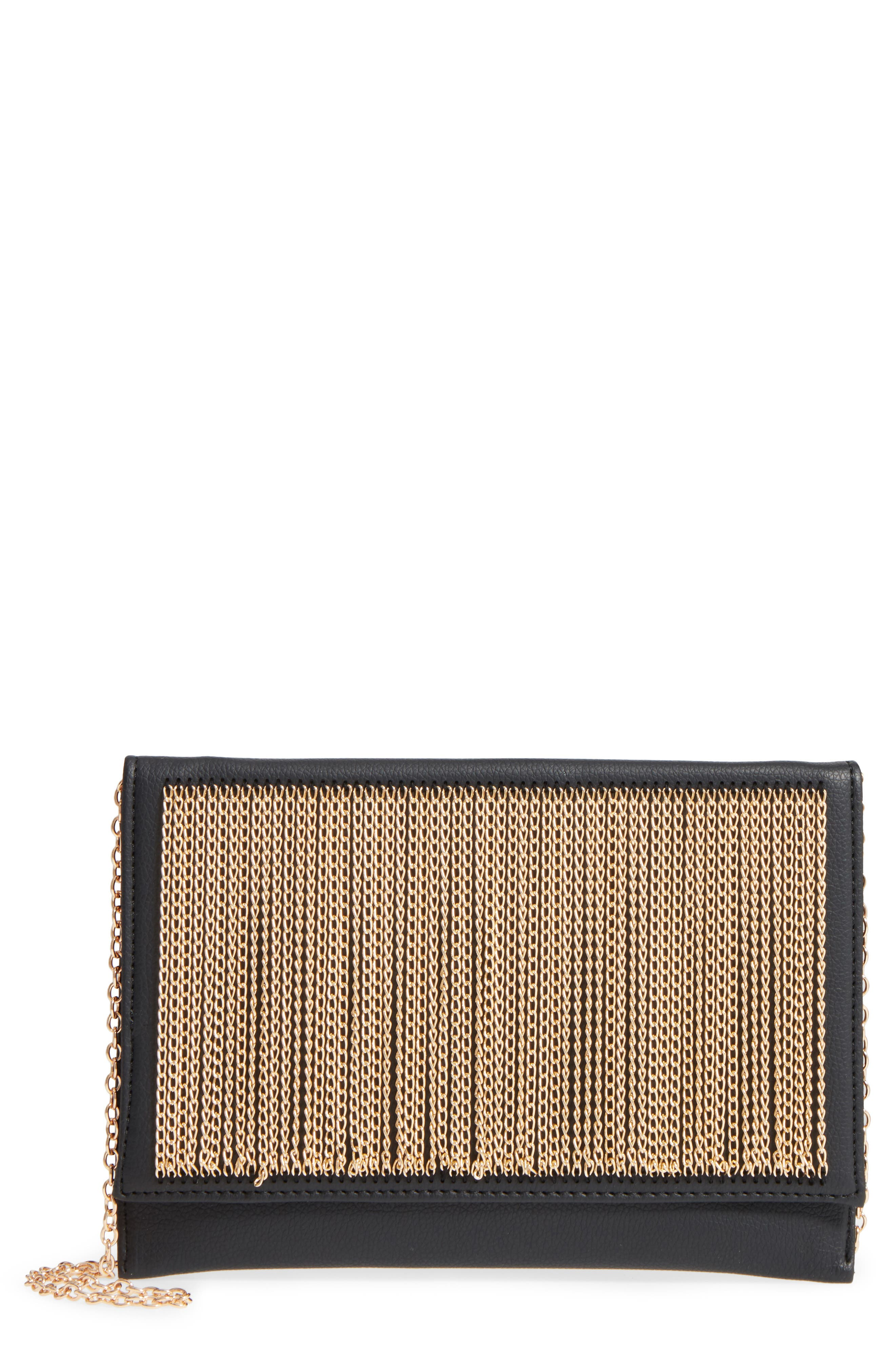 NATASHA COUTURE,                             Natasha Chain Clutch,                             Main thumbnail 1, color,                             001