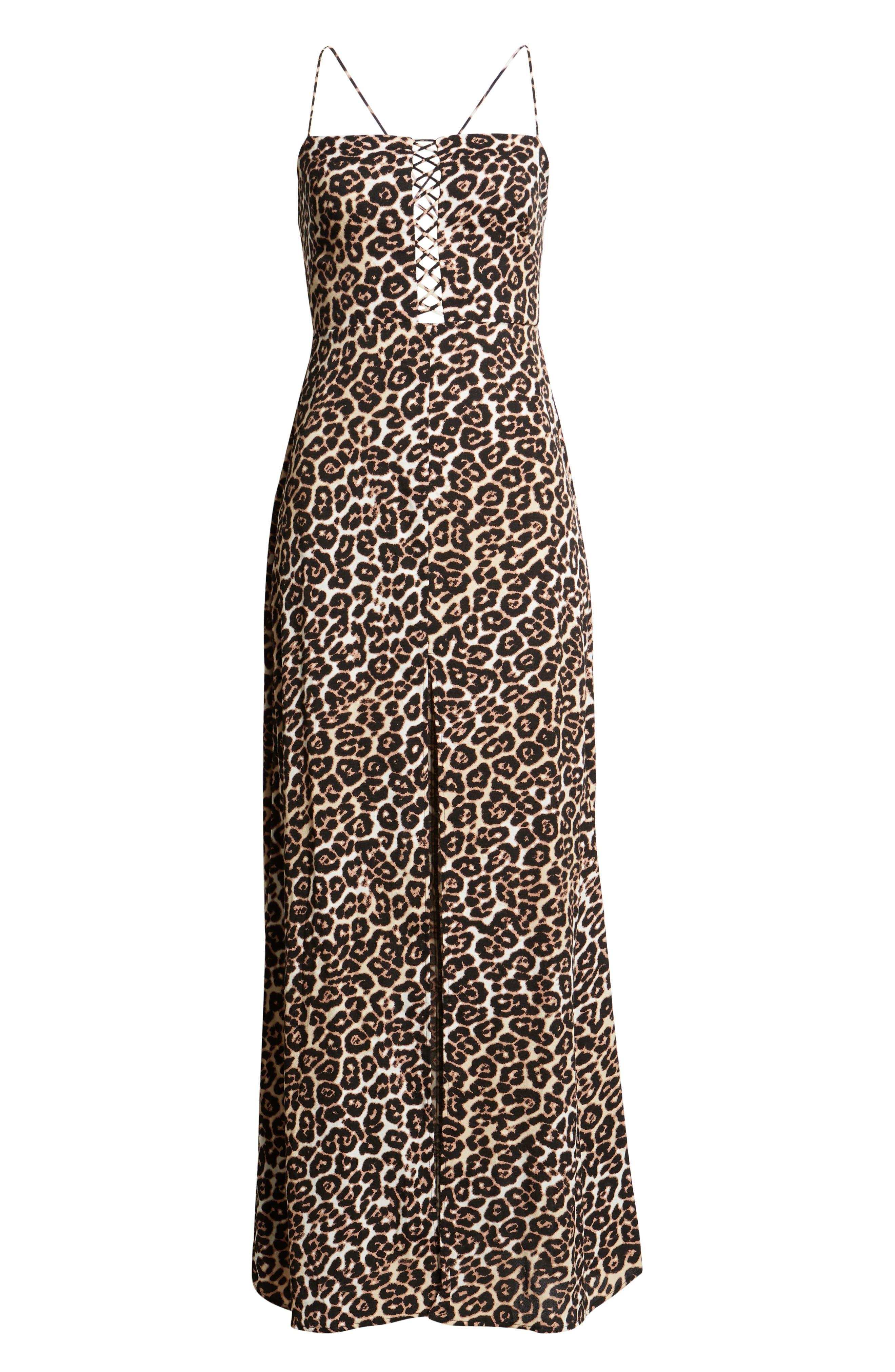 Aryn Lattice Detail Dress,                             Alternate thumbnail 7, color,                             LEOPARD