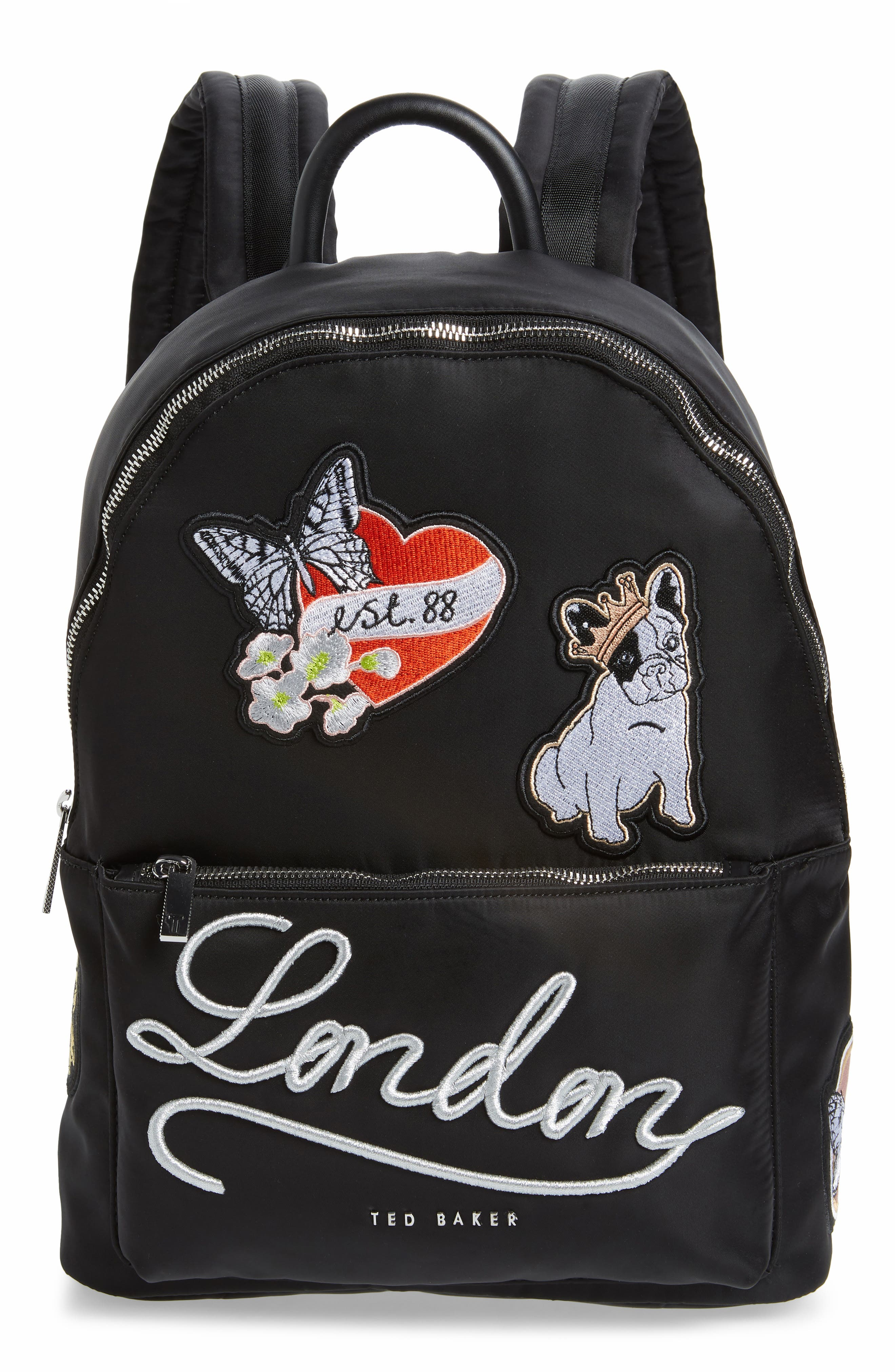 Sofiahh Nylon Backpack,                         Main,                         color, BLACK