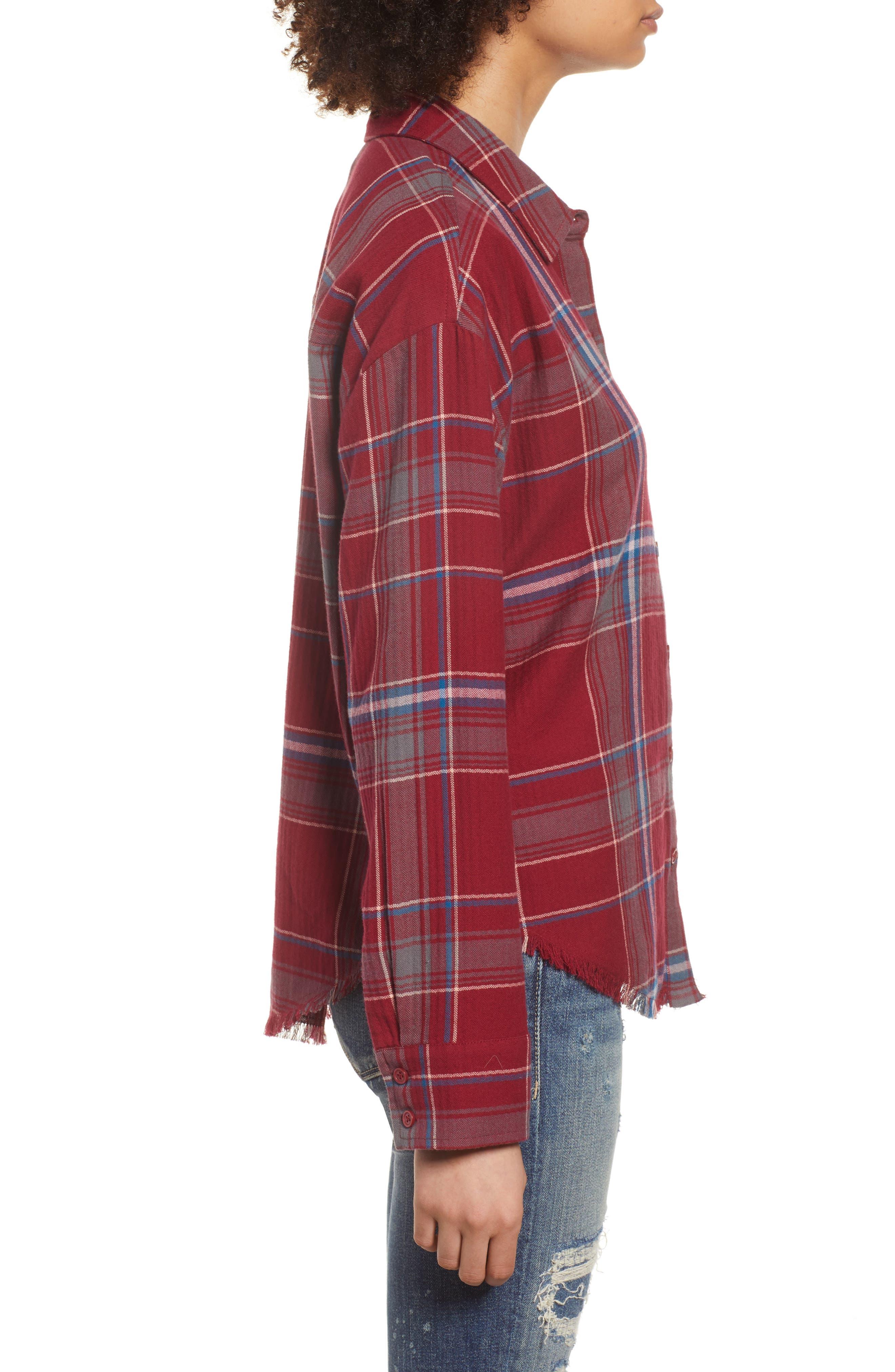 Frayed Edge Plaid Shirt,                             Alternate thumbnail 4, color,                             RED RUMBA NICOLE PLAID