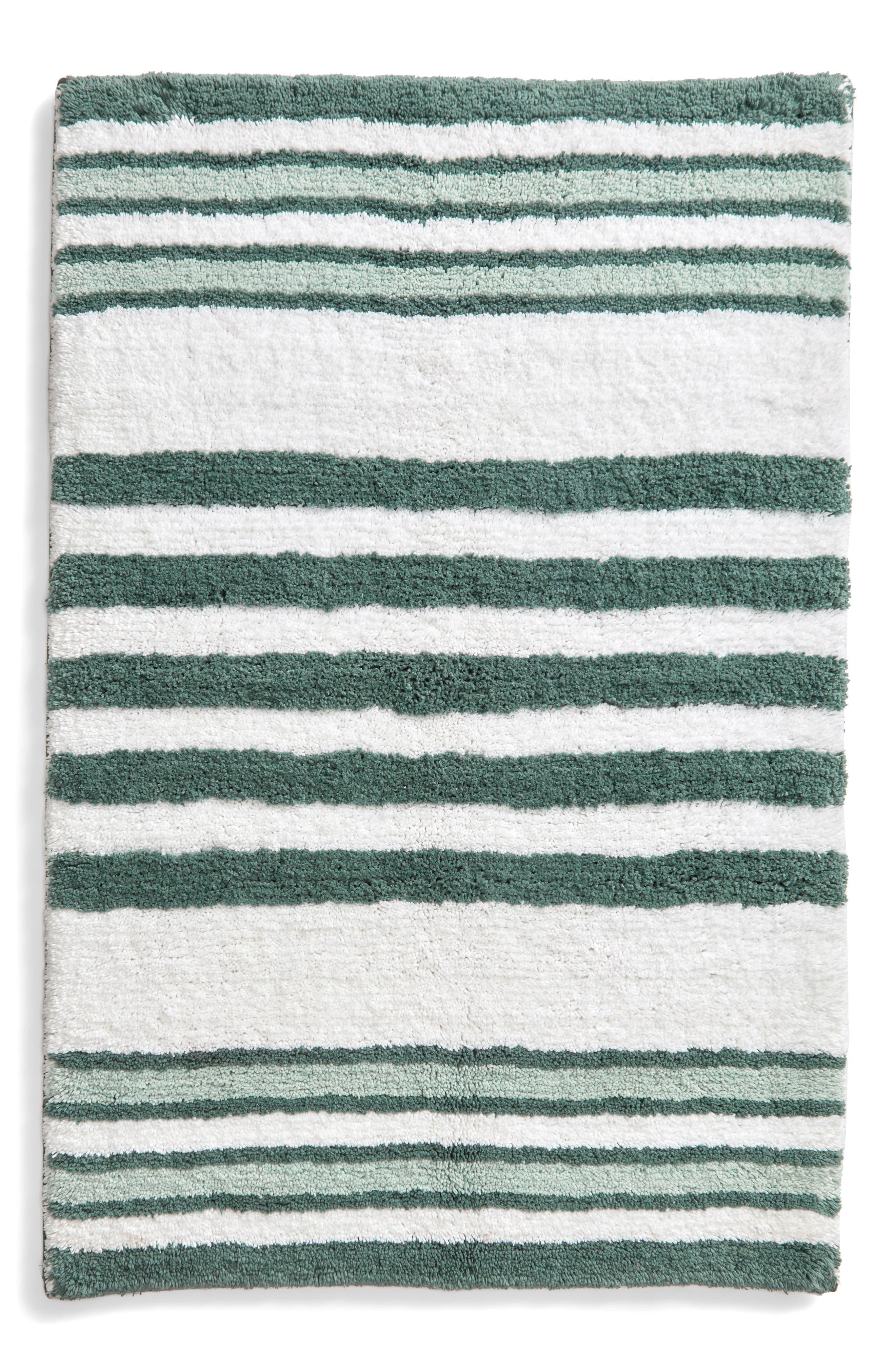 NORDSTROM AT HOME,                             Stripe Bath Rug,                             Main thumbnail 1, color,                             TEAL TITANIC