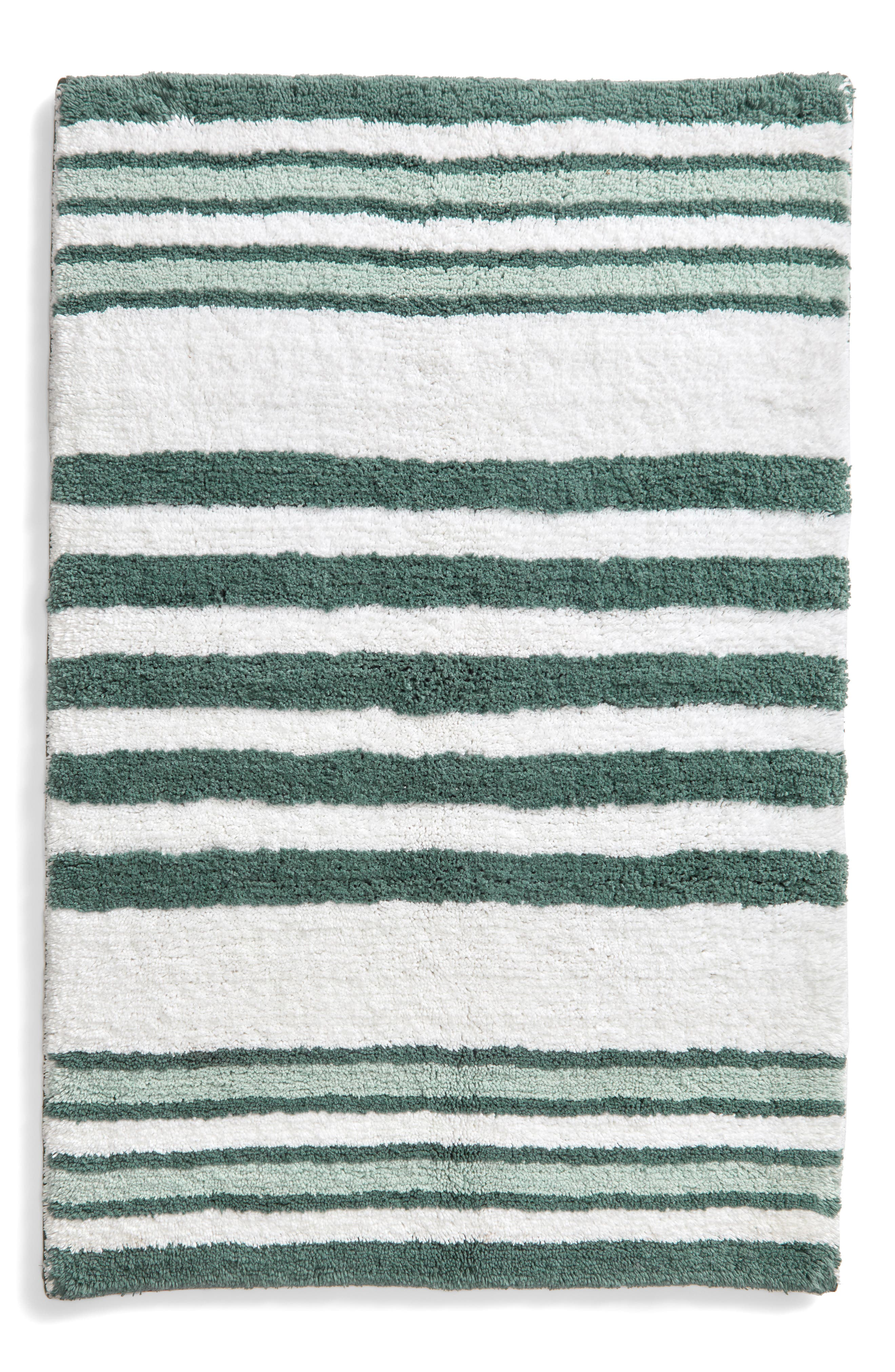 NORDSTROM AT HOME Stripe Bath Rug, Main, color, TEAL TITANIC