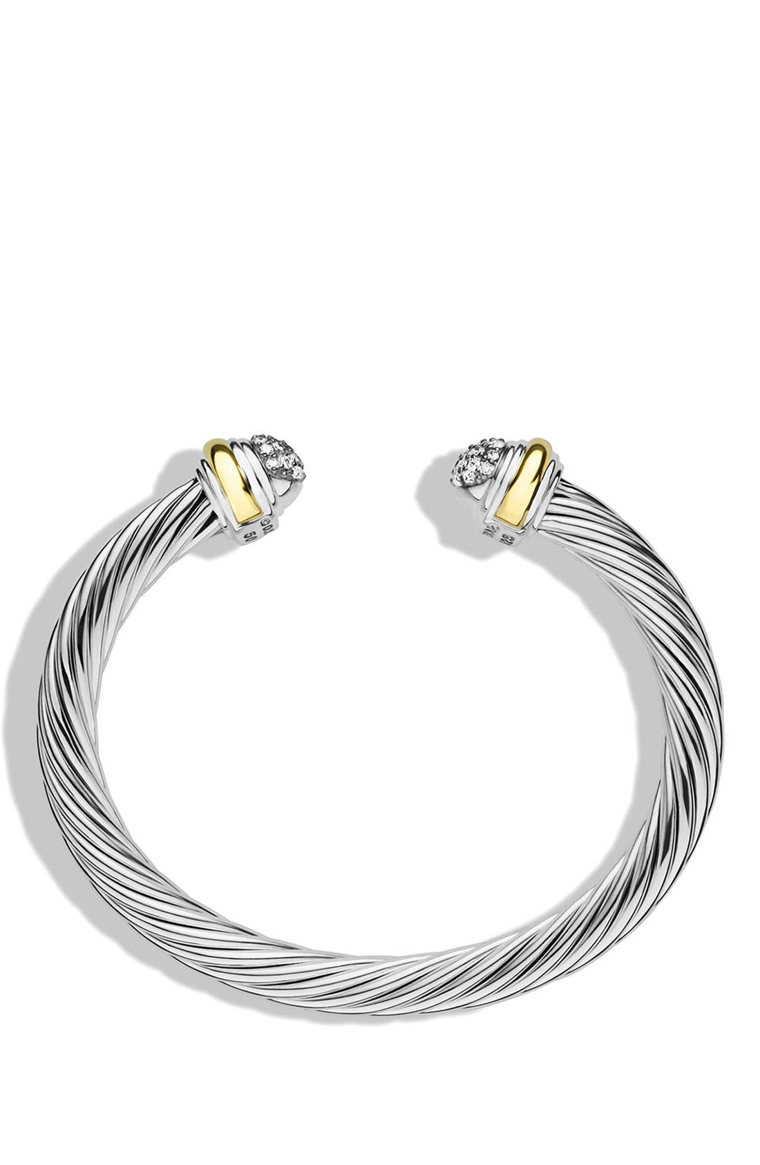 Cable Classics Bracelet with Diamonds and 18K Gold, 7mm,                             Alternate thumbnail 3, color,                             DIAMOND
