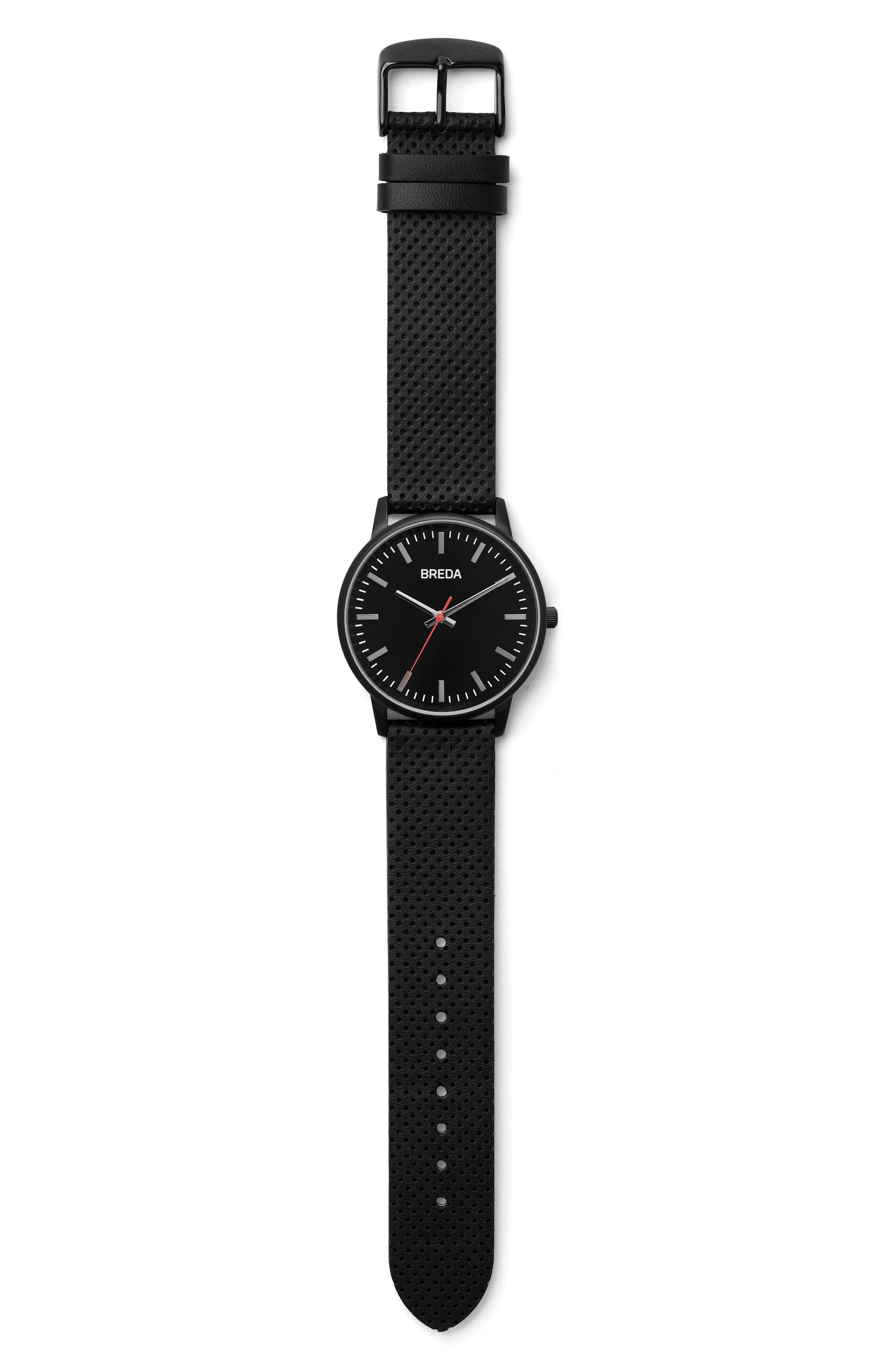 Zapf Round Perforated Leather Strap Watch, 39mm,                             Alternate thumbnail 3, color,                             001