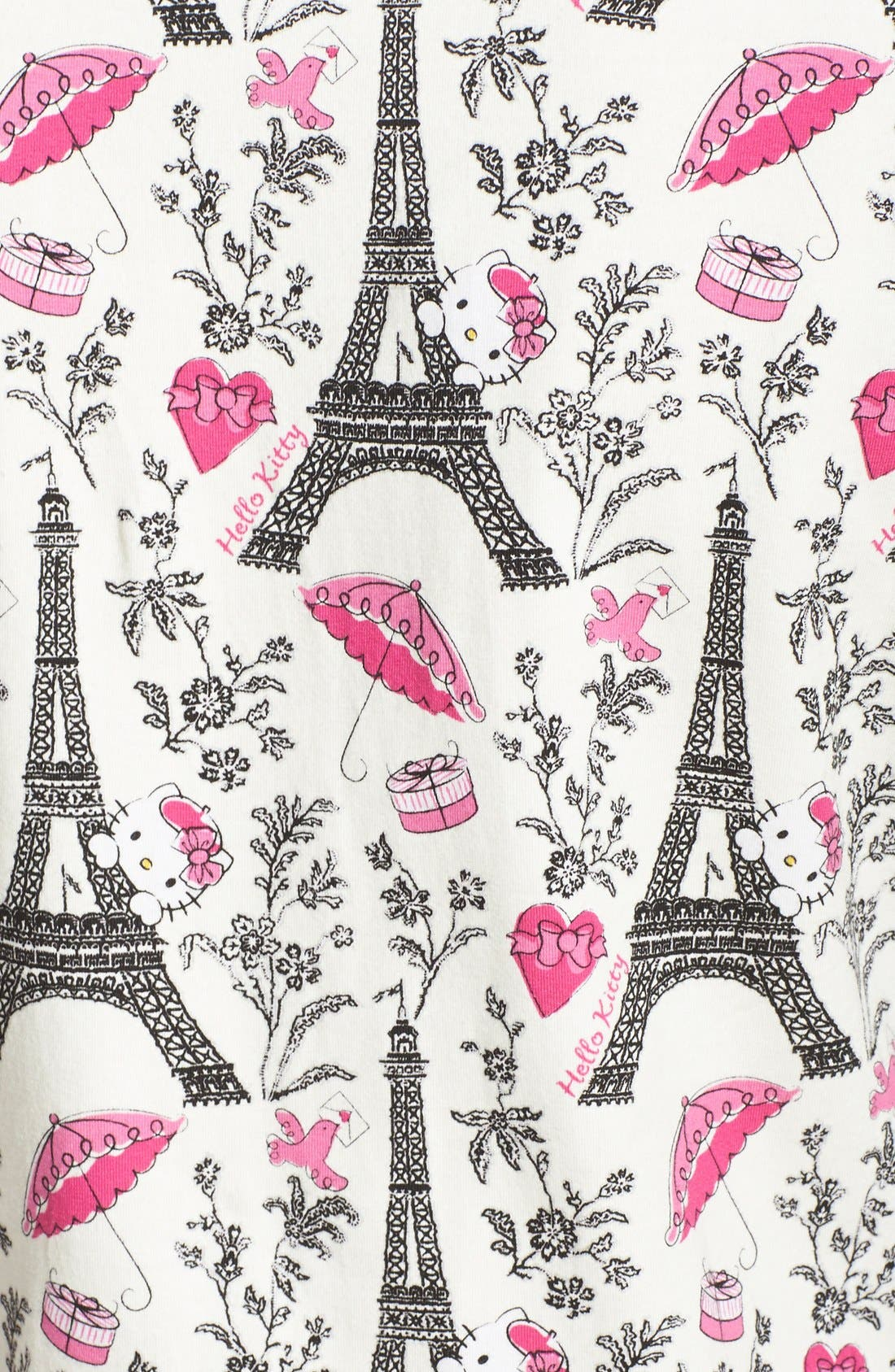 Hello Kitty<sup>®</sup> Print Henley Pajamas,                             Alternate thumbnail 3, color,                             100