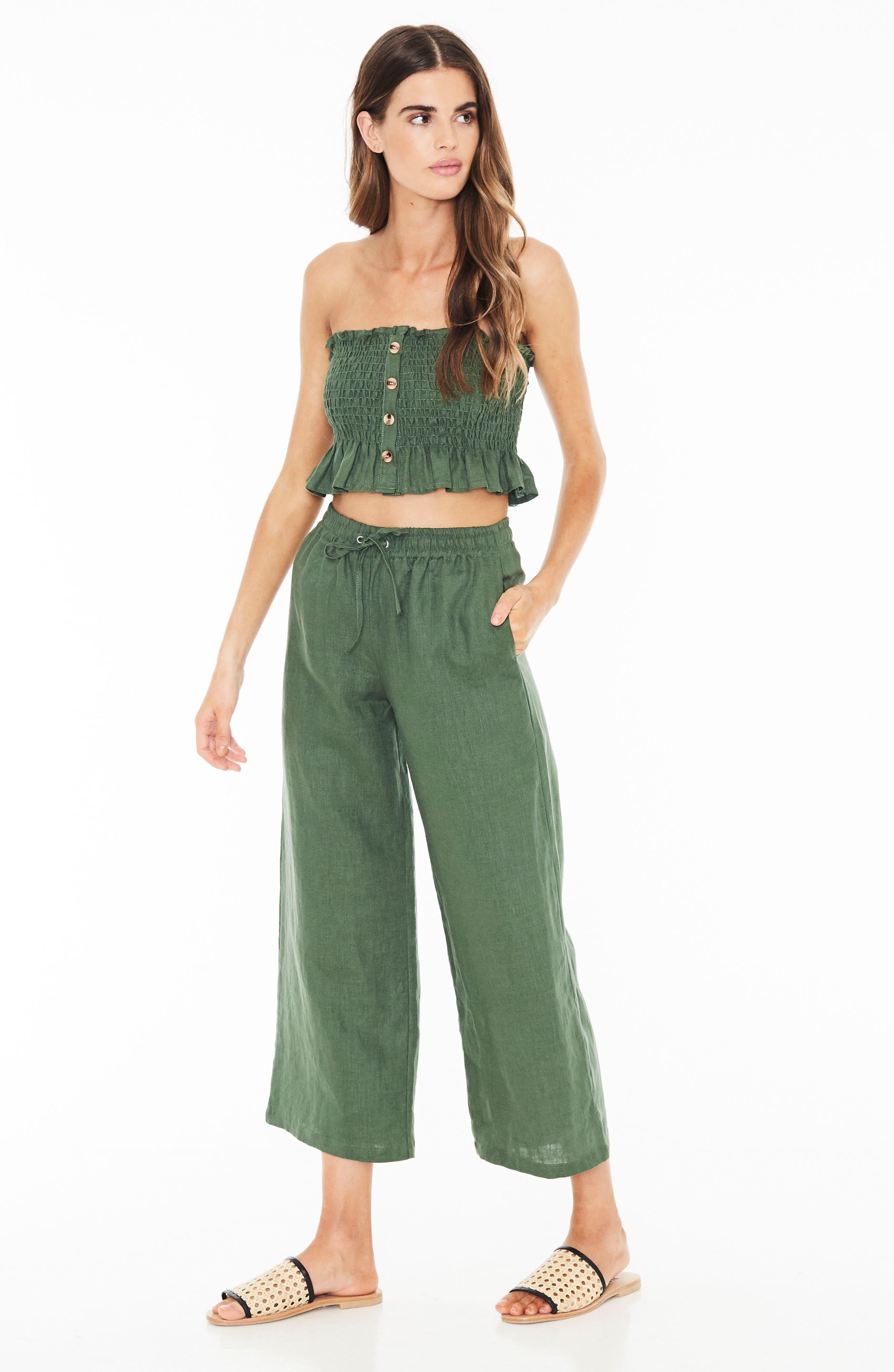 Clemence Linen Pants,                             Alternate thumbnail 4, color,                             PLAIN MOSS GREEN