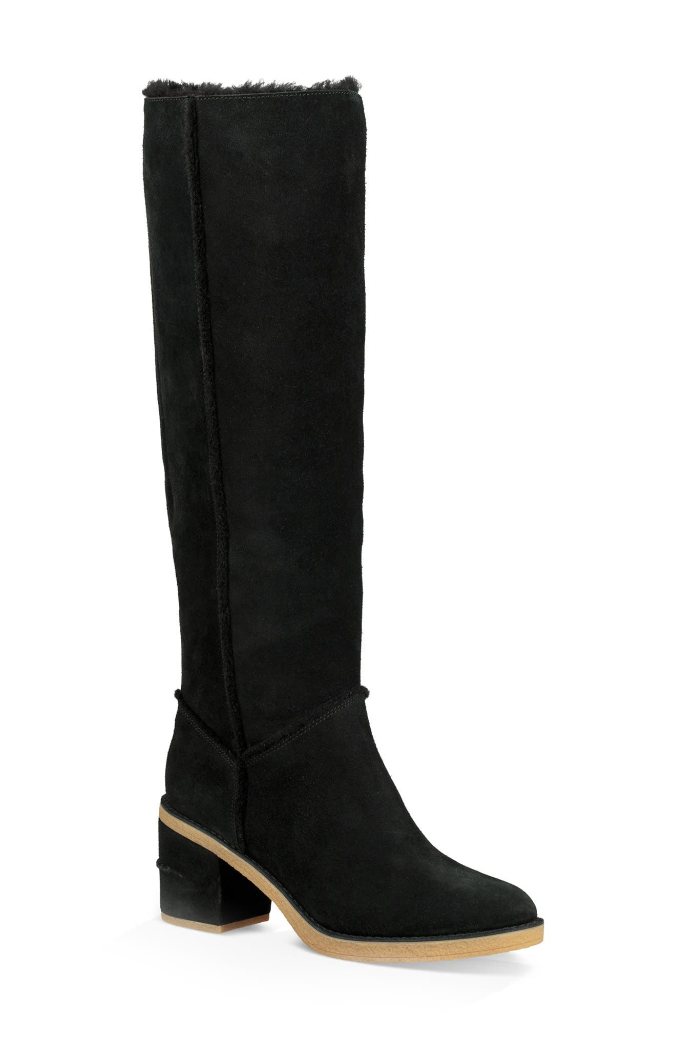 Kasen II Knee High Boot,                         Main,                         color, BLACK SUEDE