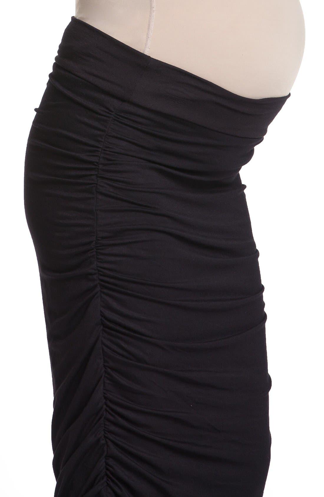 Ruched Maternity Midi Skirt,                             Main thumbnail 1, color,                             001