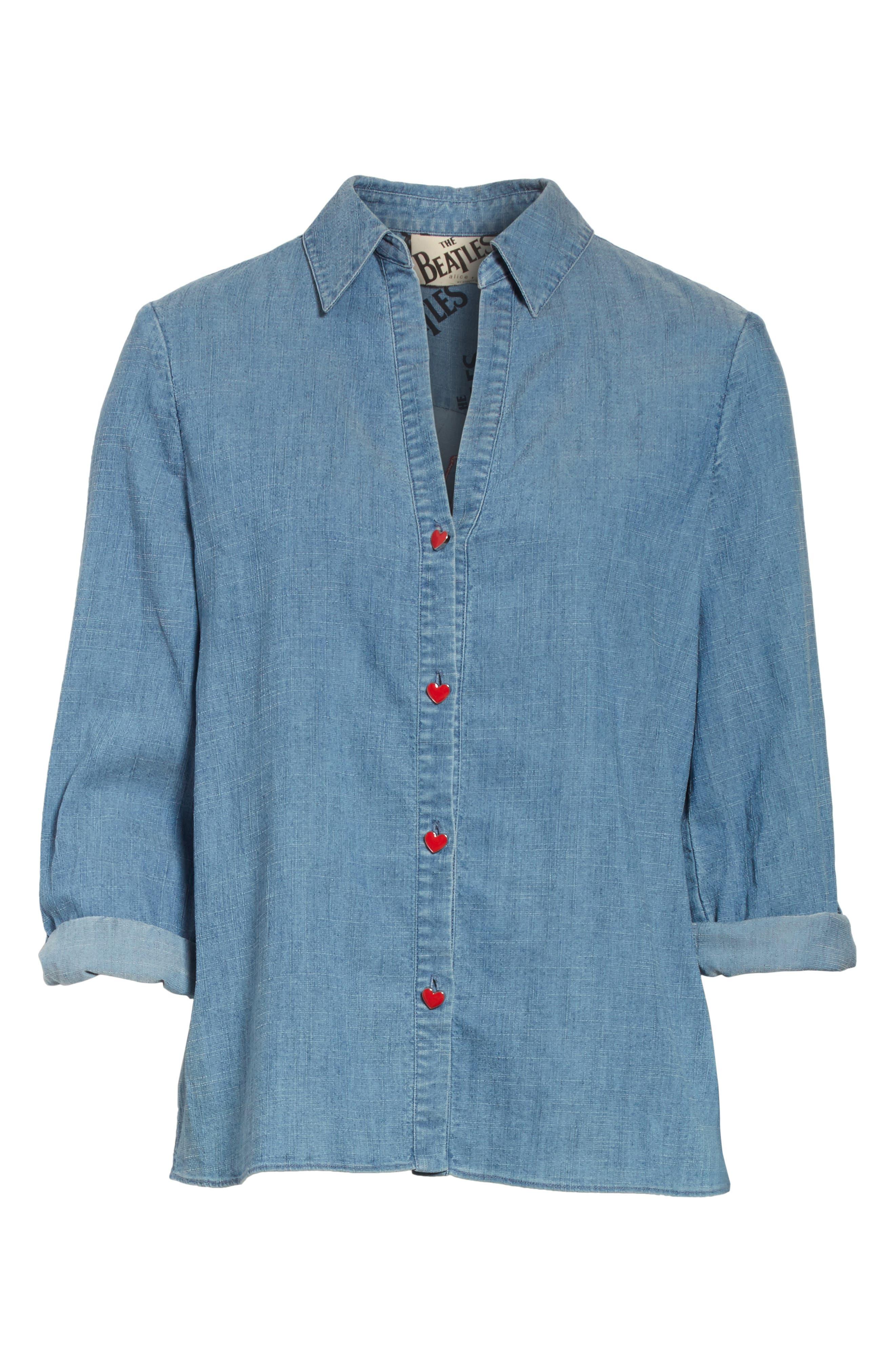 Eloise Appliqué Roll-Cuff Shirt,                             Alternate thumbnail 6, color,                             484