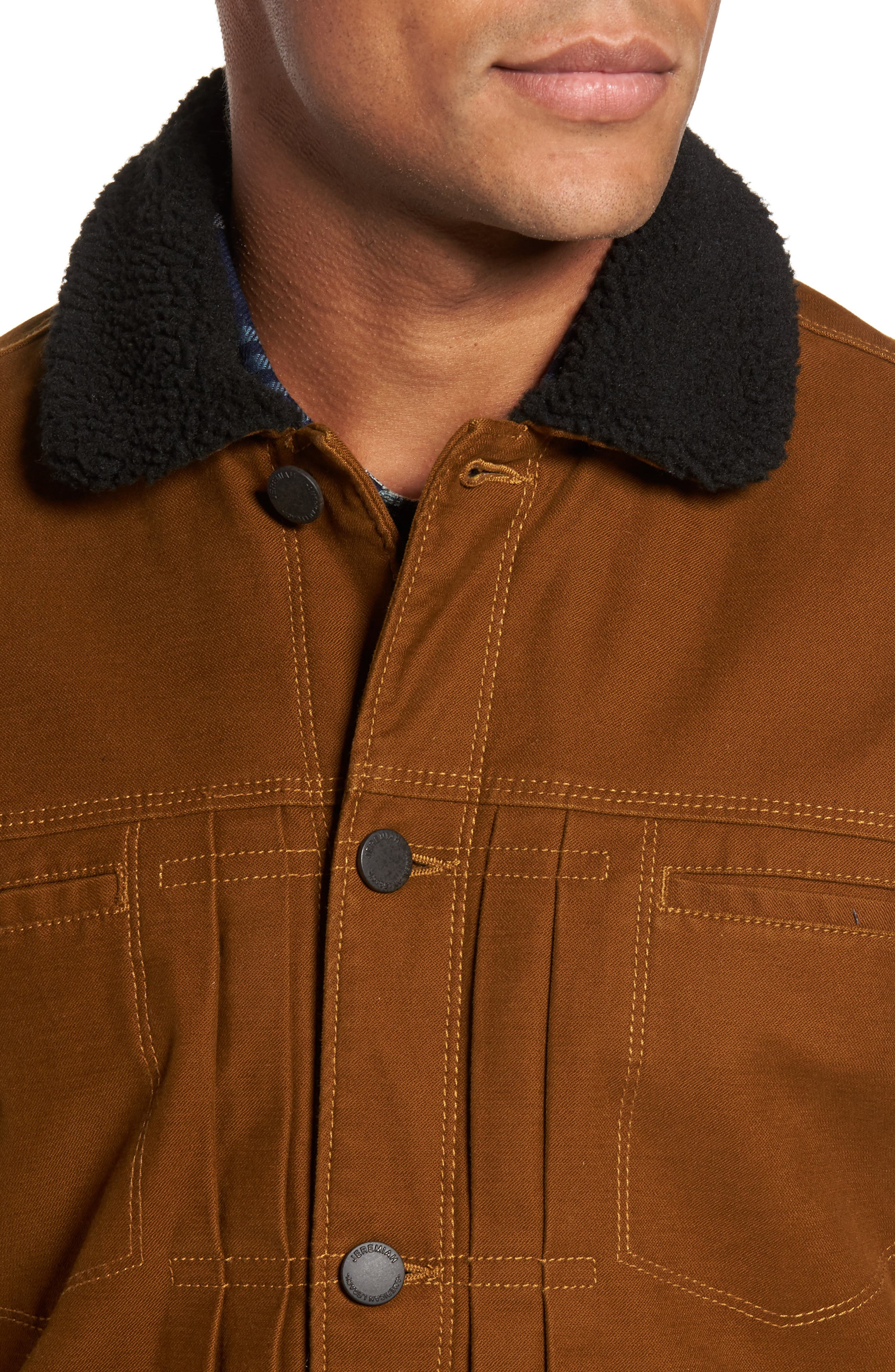 Terra Broken Twill Jacket with Faux Shearling Trim,                             Alternate thumbnail 4, color,