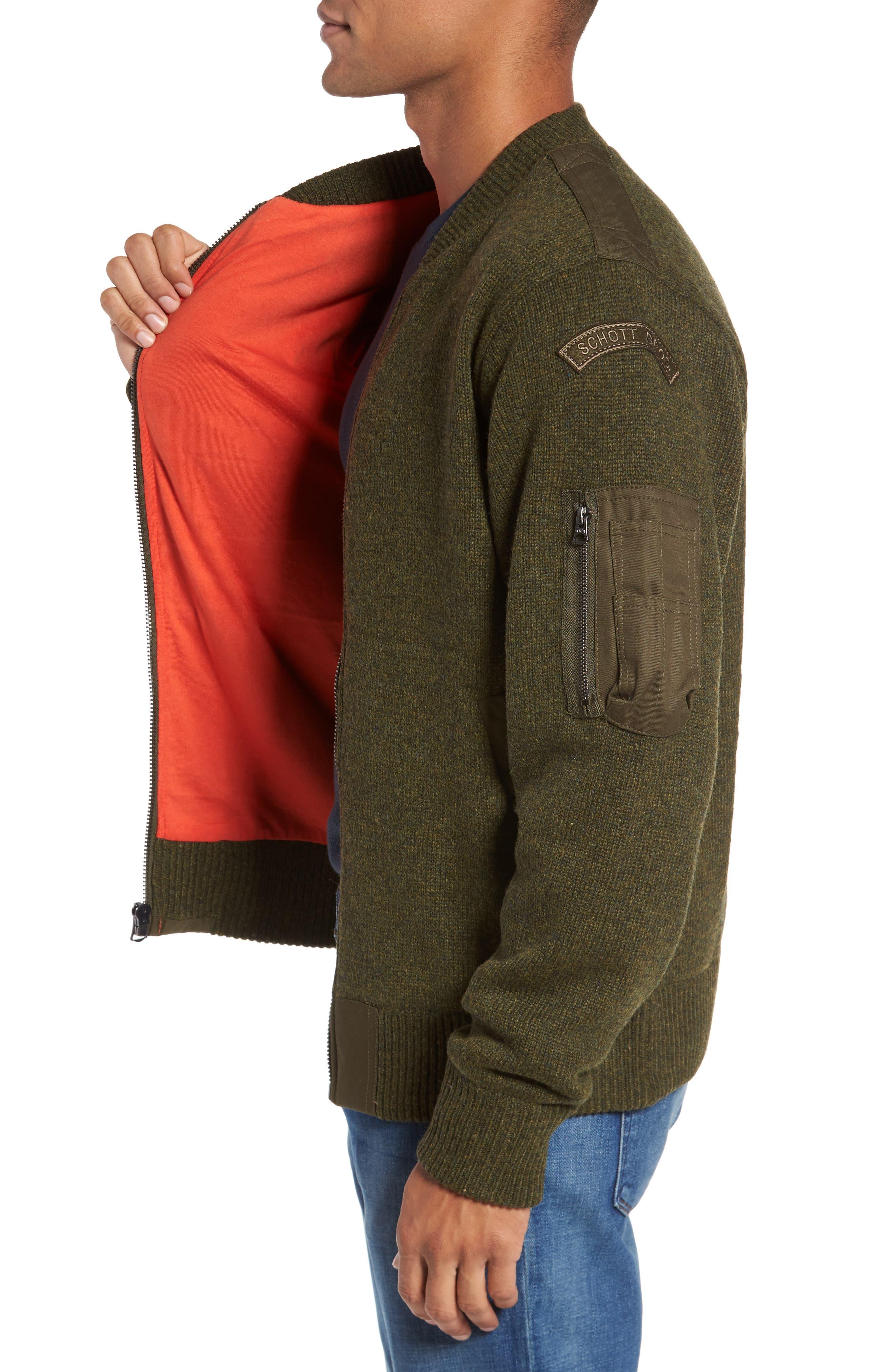 MA-1 Sweater Jacket,                             Alternate thumbnail 3, color,                             MOSS GREEN