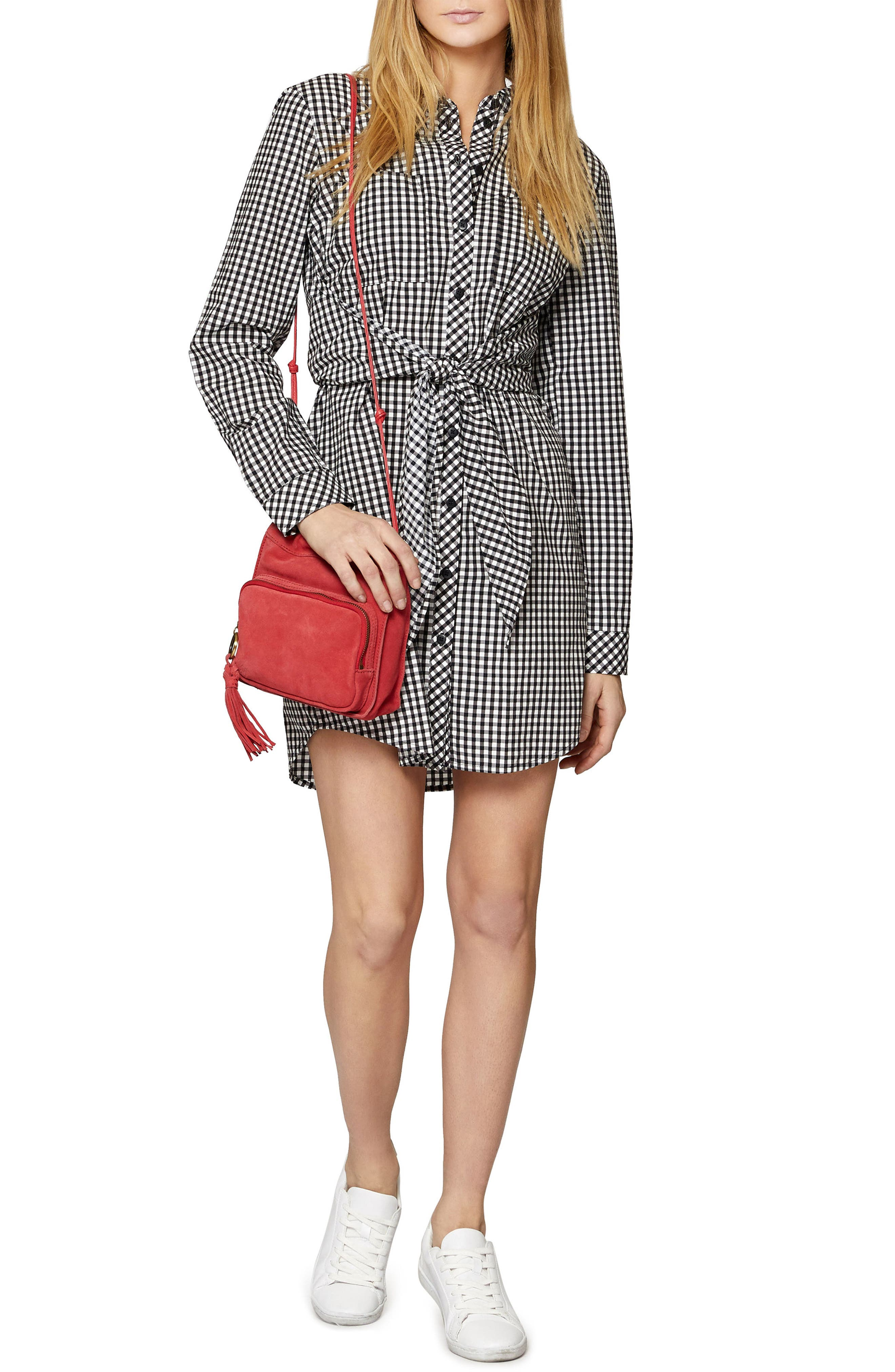 Tie Front Gingham Shirtdress,                             Alternate thumbnail 5, color,                             011