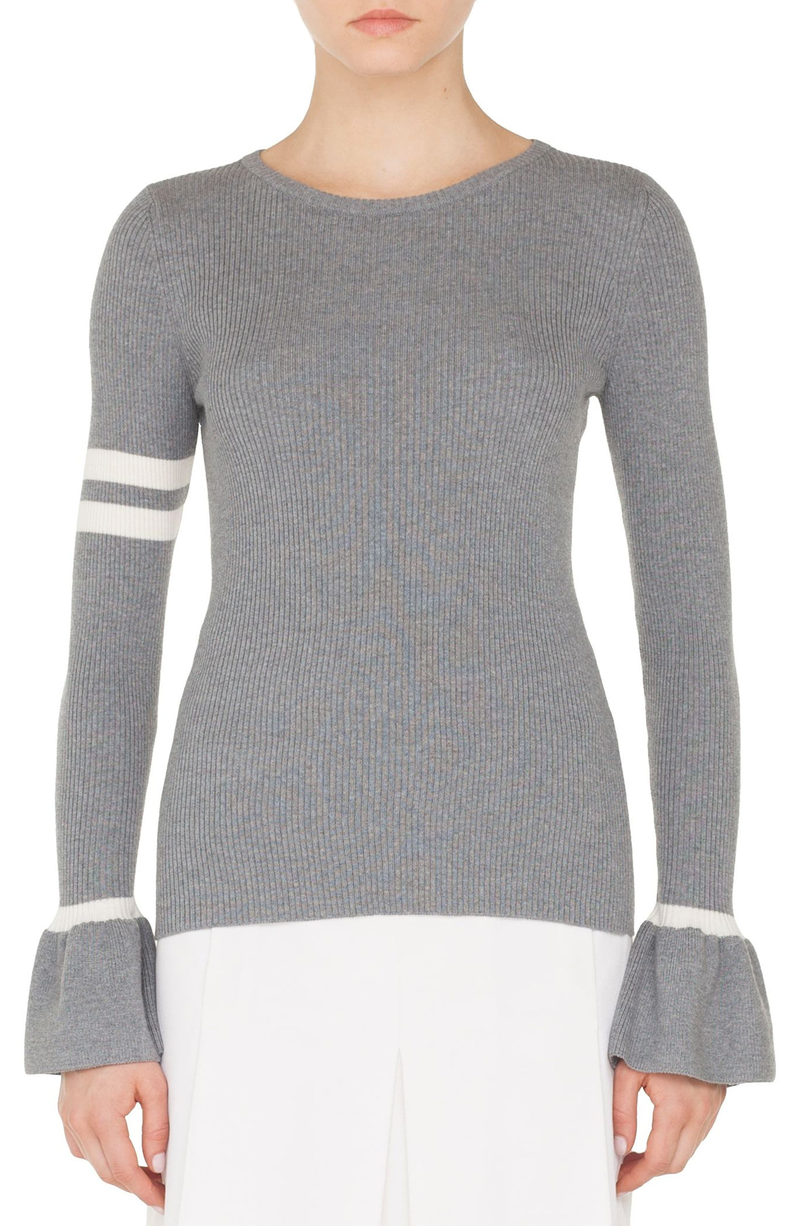 Stripe Wool Bell Sleeve Sweater,                             Main thumbnail 1, color,                             SILVER-CREAM