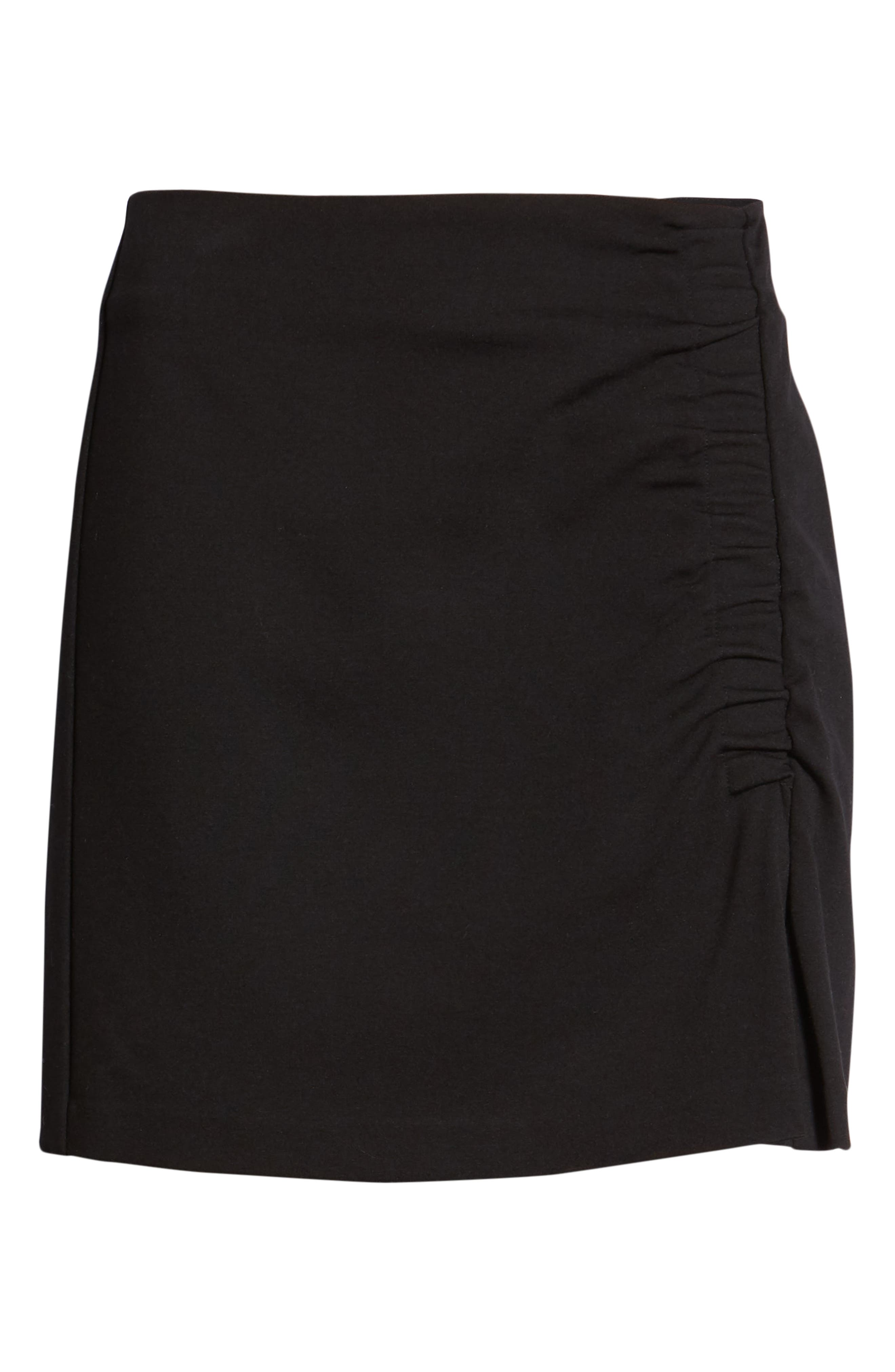 1.STATE,                             Ruched Detail Stretch Ponte Miniskirt,                             Alternate thumbnail 6, color,                             RICH BLACK