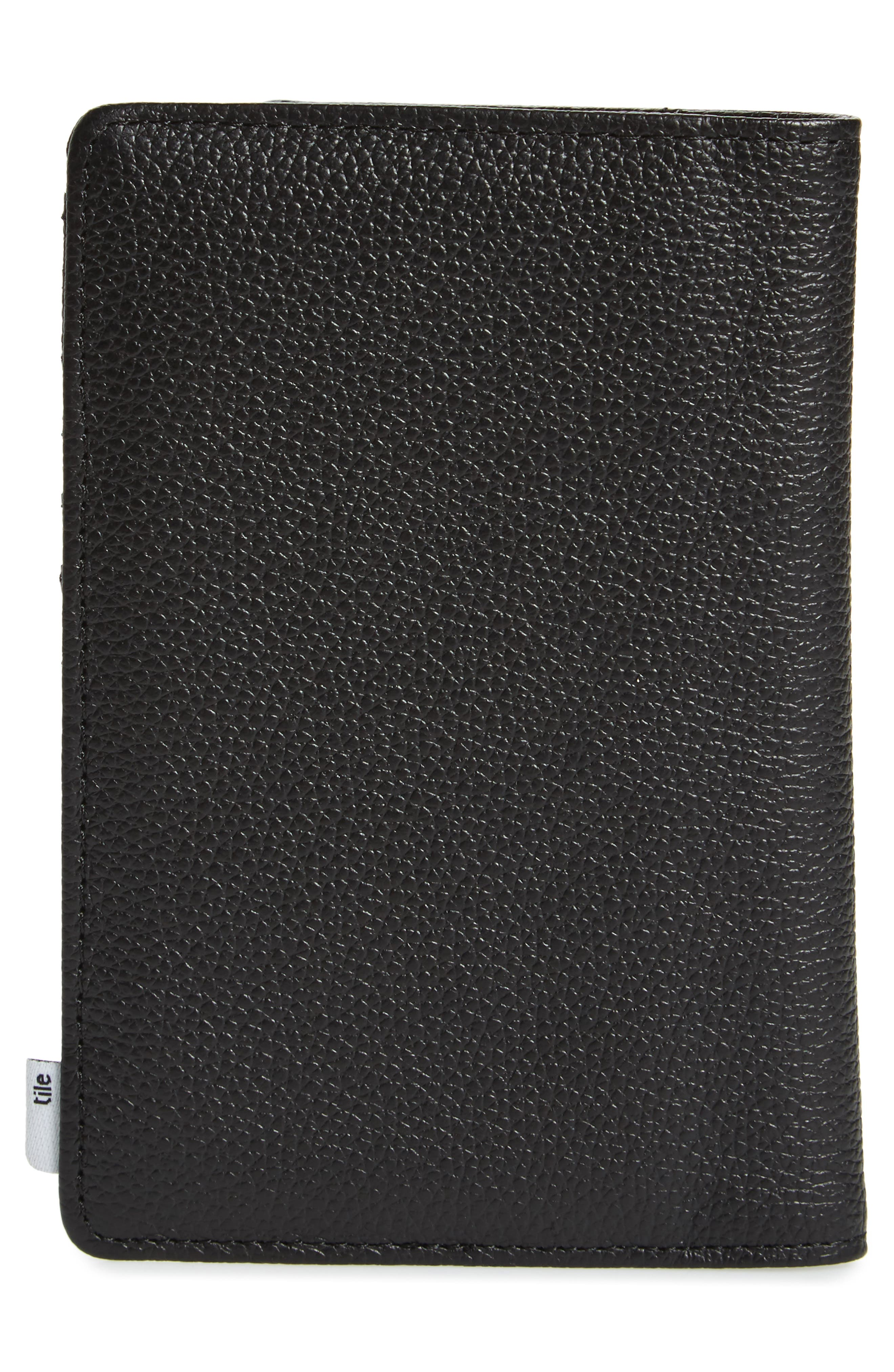 Tile Search Slim Vertical Leather Wallet,                             Alternate thumbnail 3, color,                             BLACK PEBBLED LEATHER