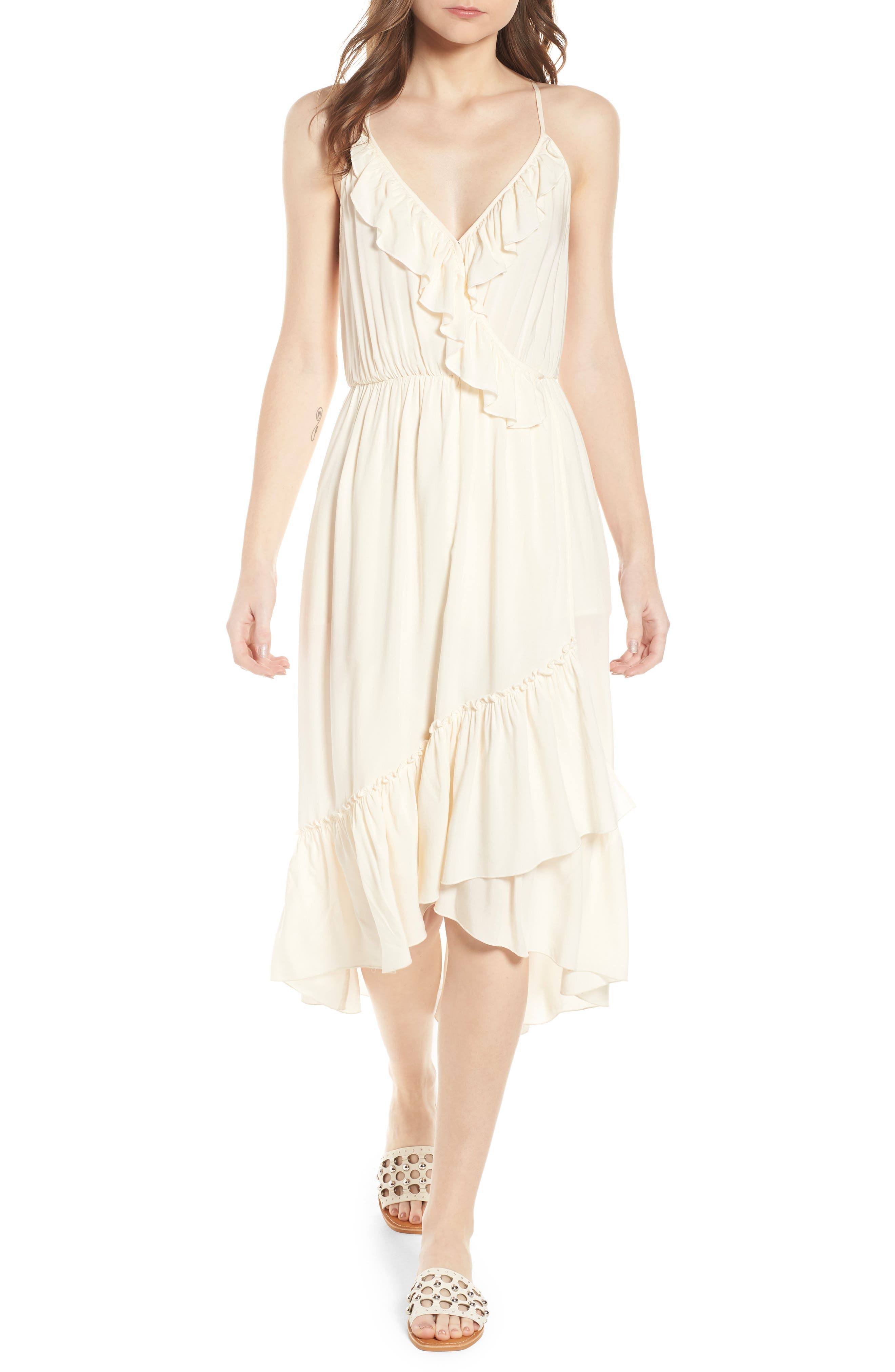 Wrap Style Midi Dress,                             Main thumbnail 1, color,                             COLOR 01 OFF WHITE