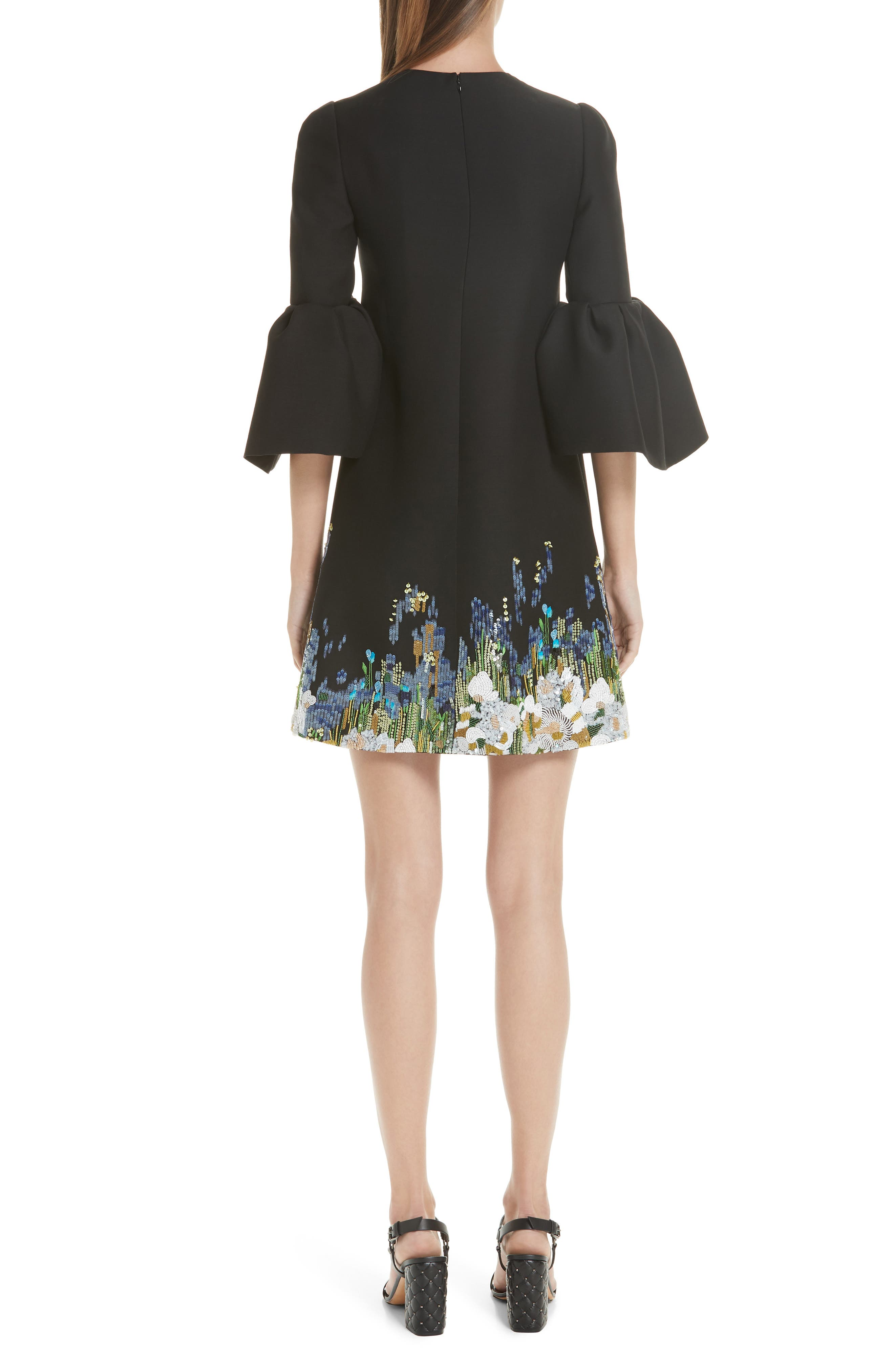 Ruffle Sleeve Floral Embroidered Dress,                             Alternate thumbnail 2, color,                             BLACK MULTI
