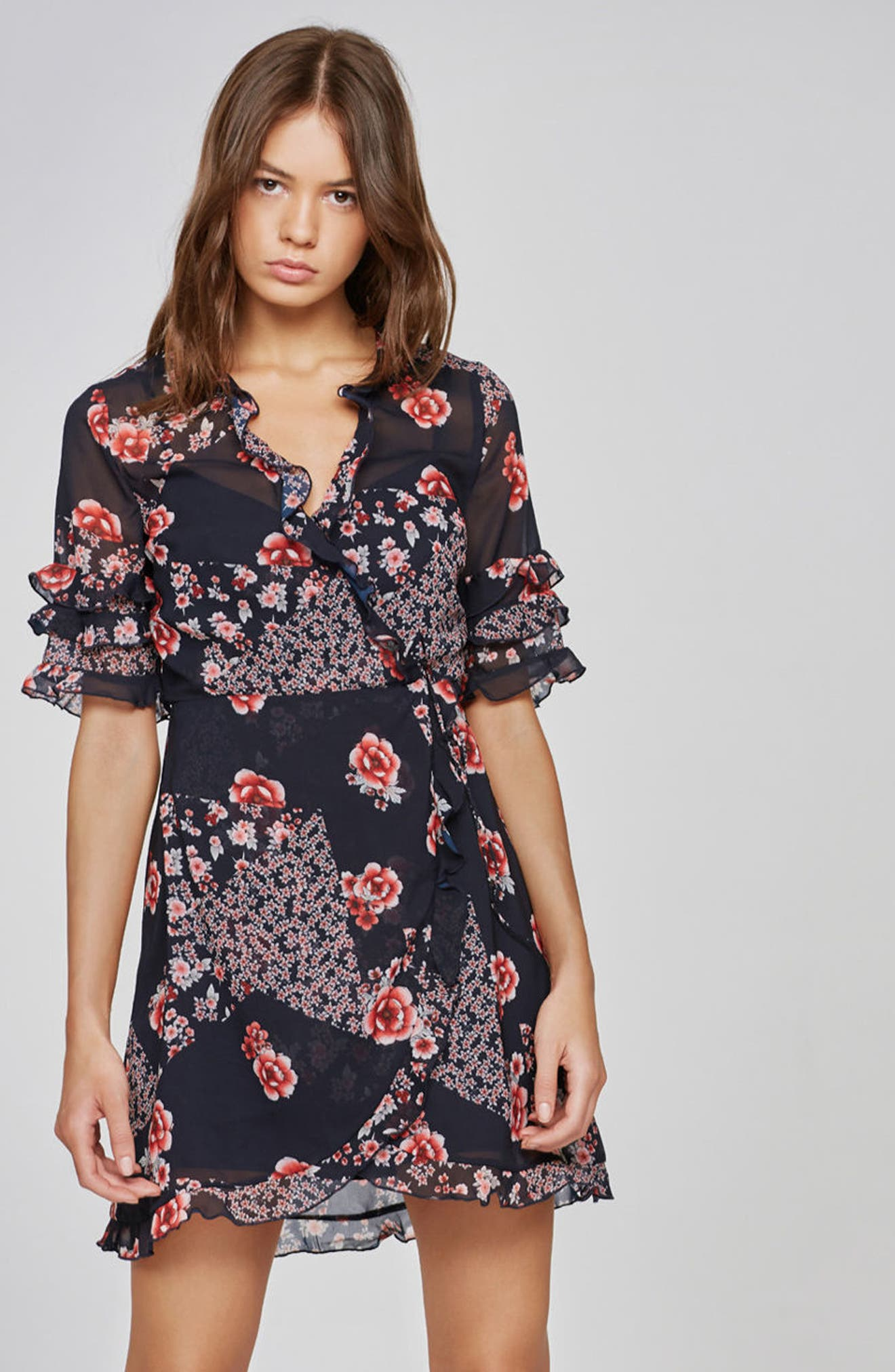 East Floral Wrap Dress,                             Alternate thumbnail 7, color,                             421