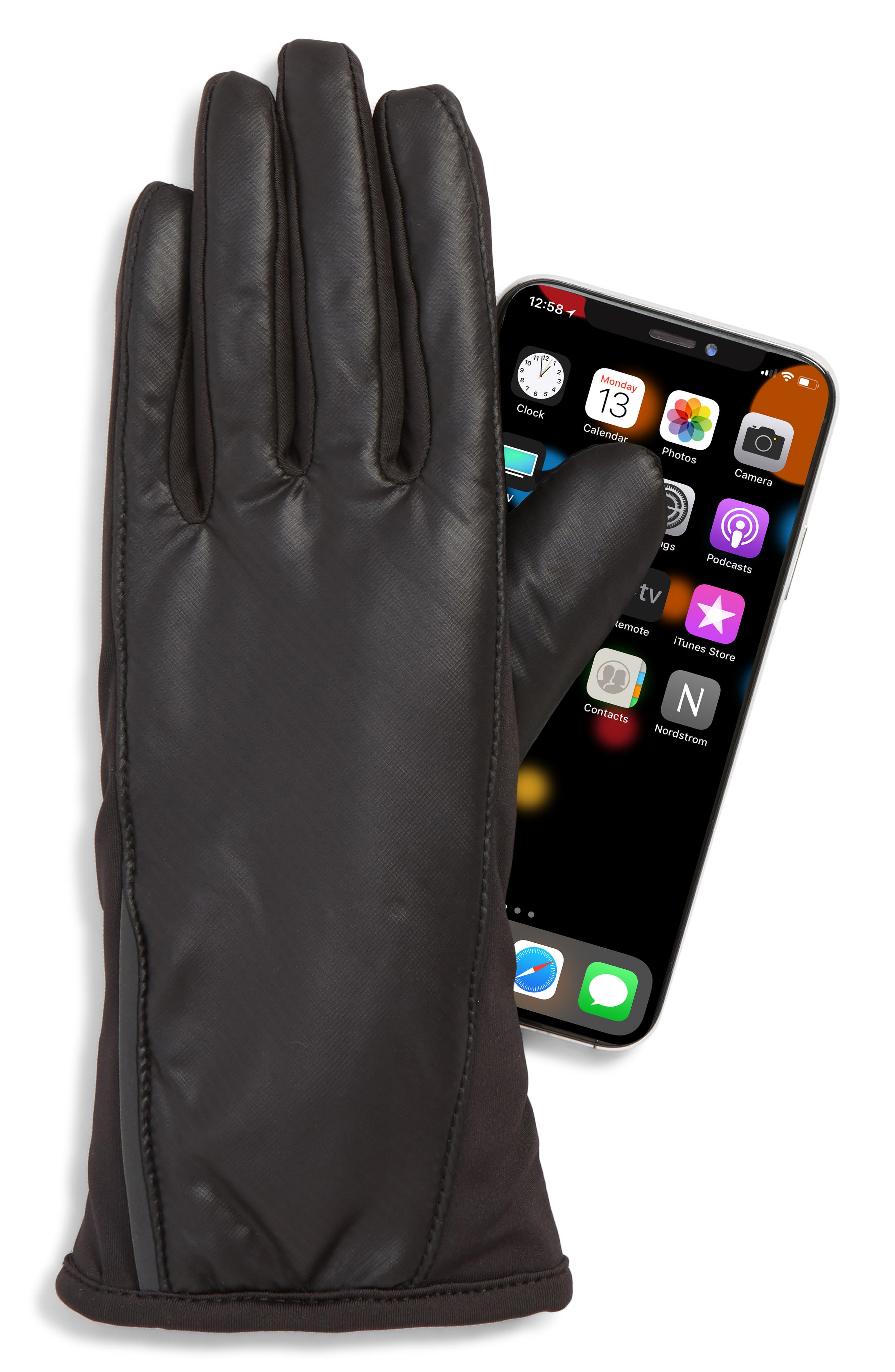 All Weather Heat Touchscreen Compatible Gloves,                             Alternate thumbnail 2, color,                             BLACK