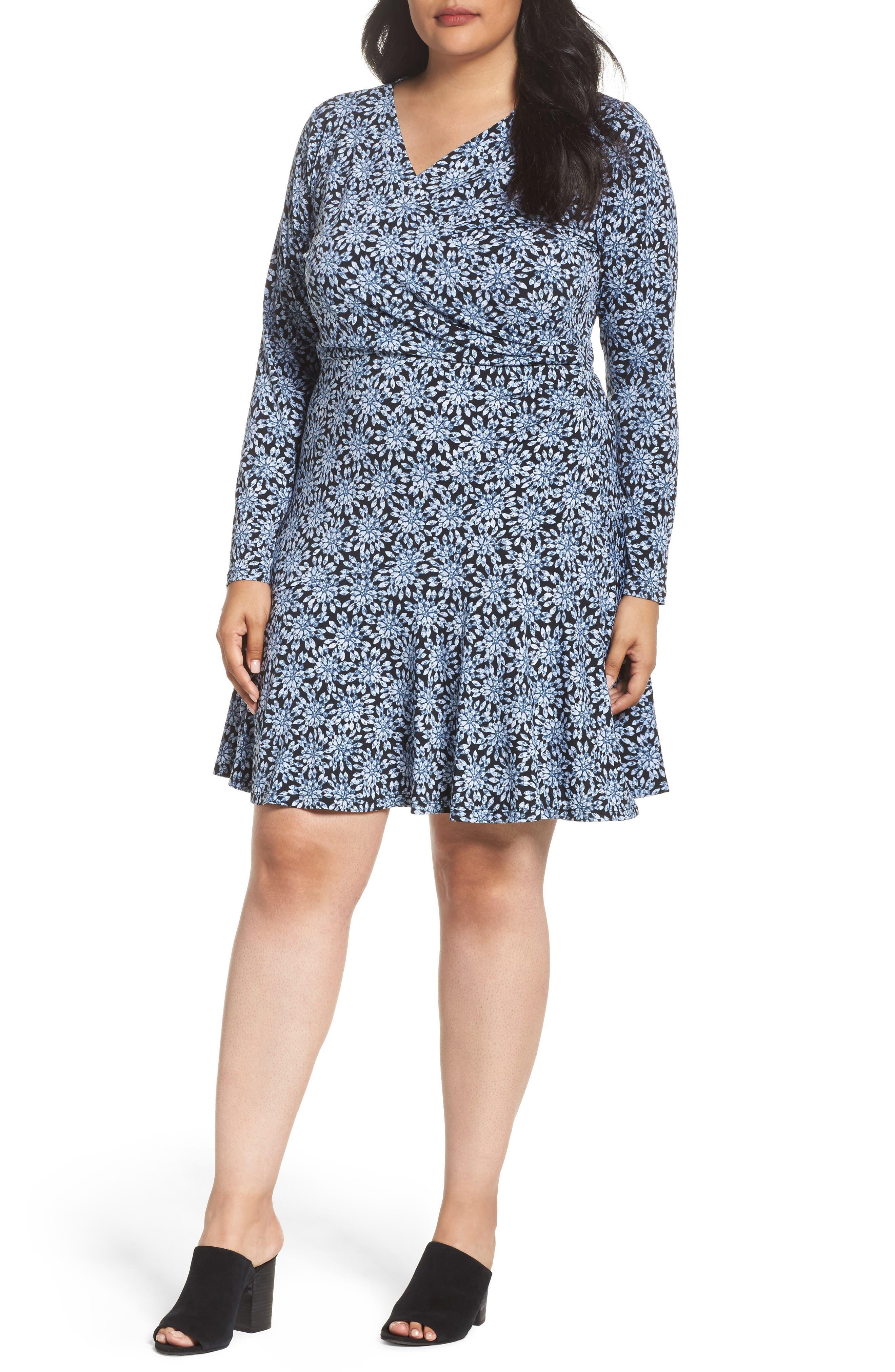 Print Faux Wrap Dress,                         Main,                         color, 468