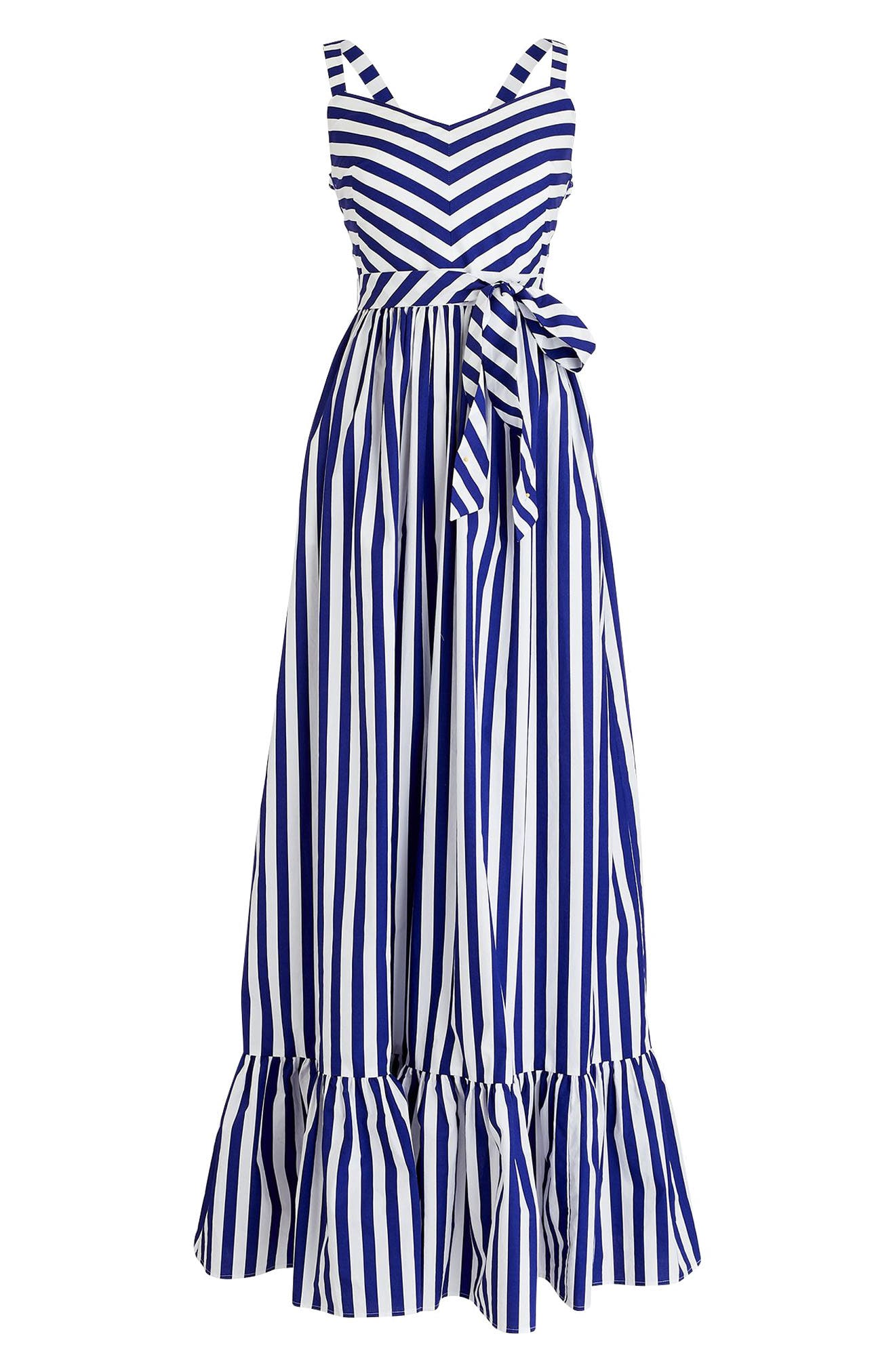 Stripe Ruffle Maxi Dress,                             Alternate thumbnail 4, color,                             400