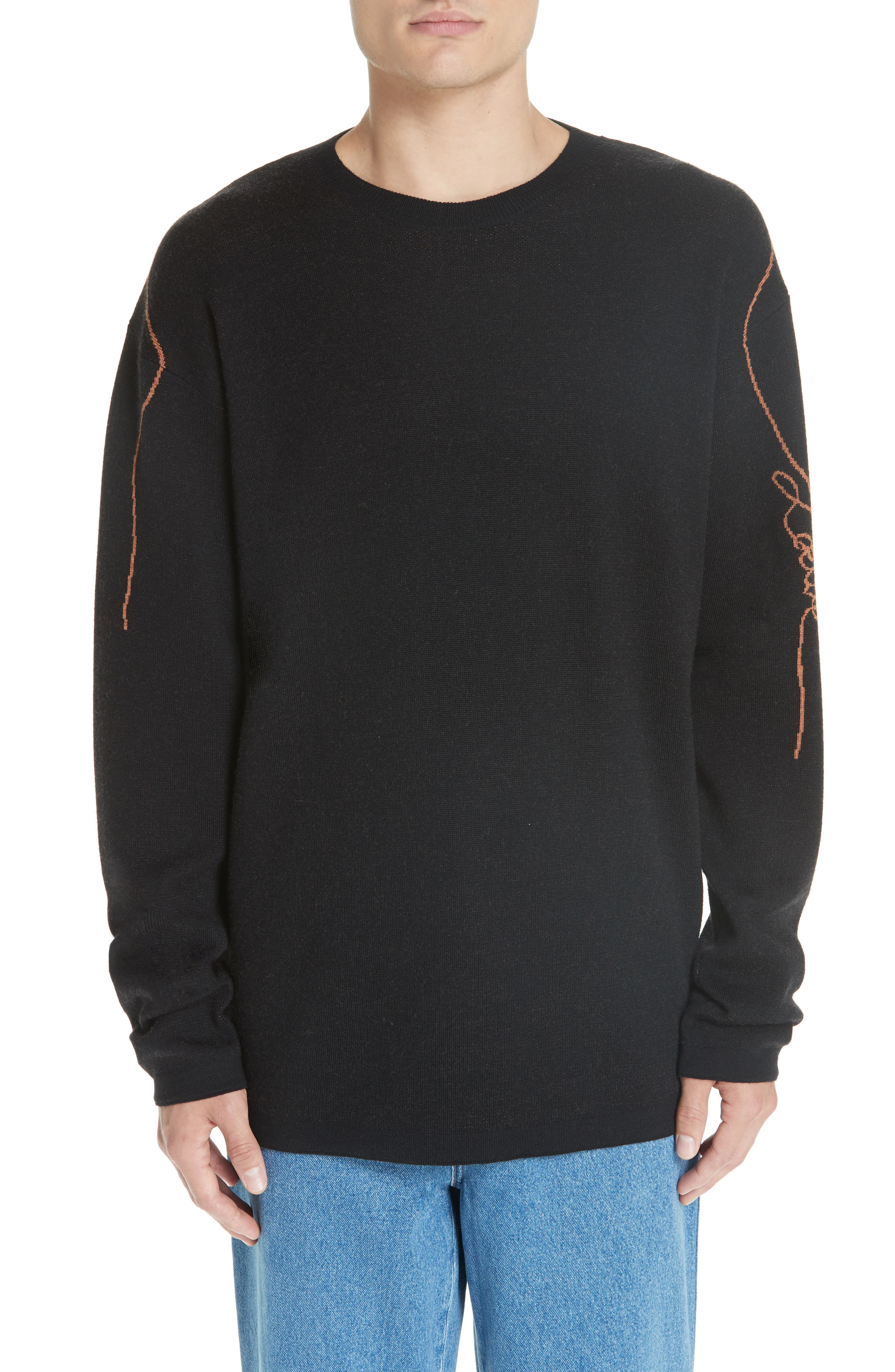 Logo Jacquard Wool Sweater,                         Main,                         color, BLACK
