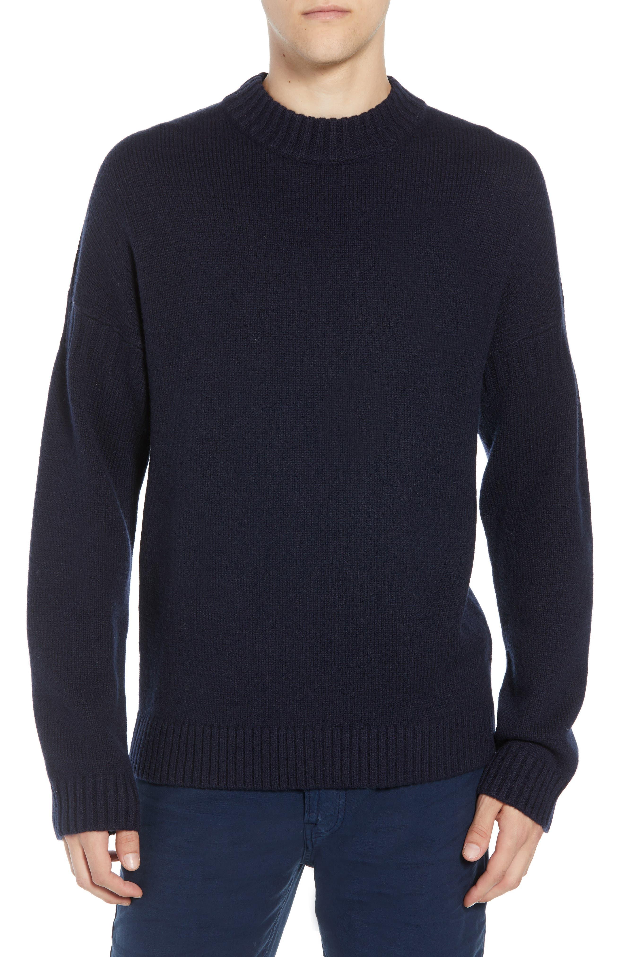 Fisherman Wool Blend Crewneck Sweater,                             Main thumbnail 1, color,                             UTILITY BLUE
