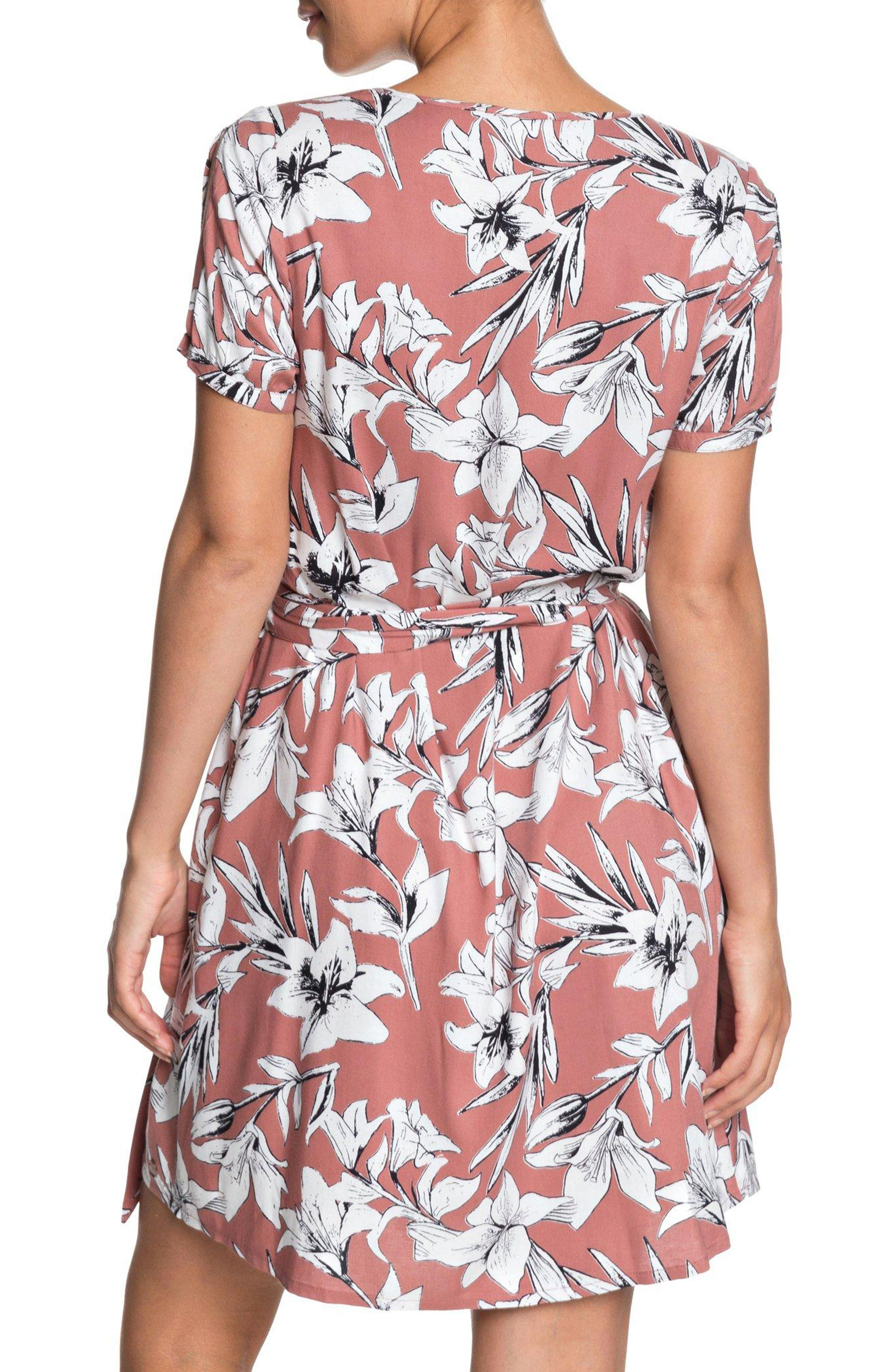 Monument View Floral Print Wrap Dress,                             Alternate thumbnail 2, color,                             WITHERED ROSE LILY HOUSE