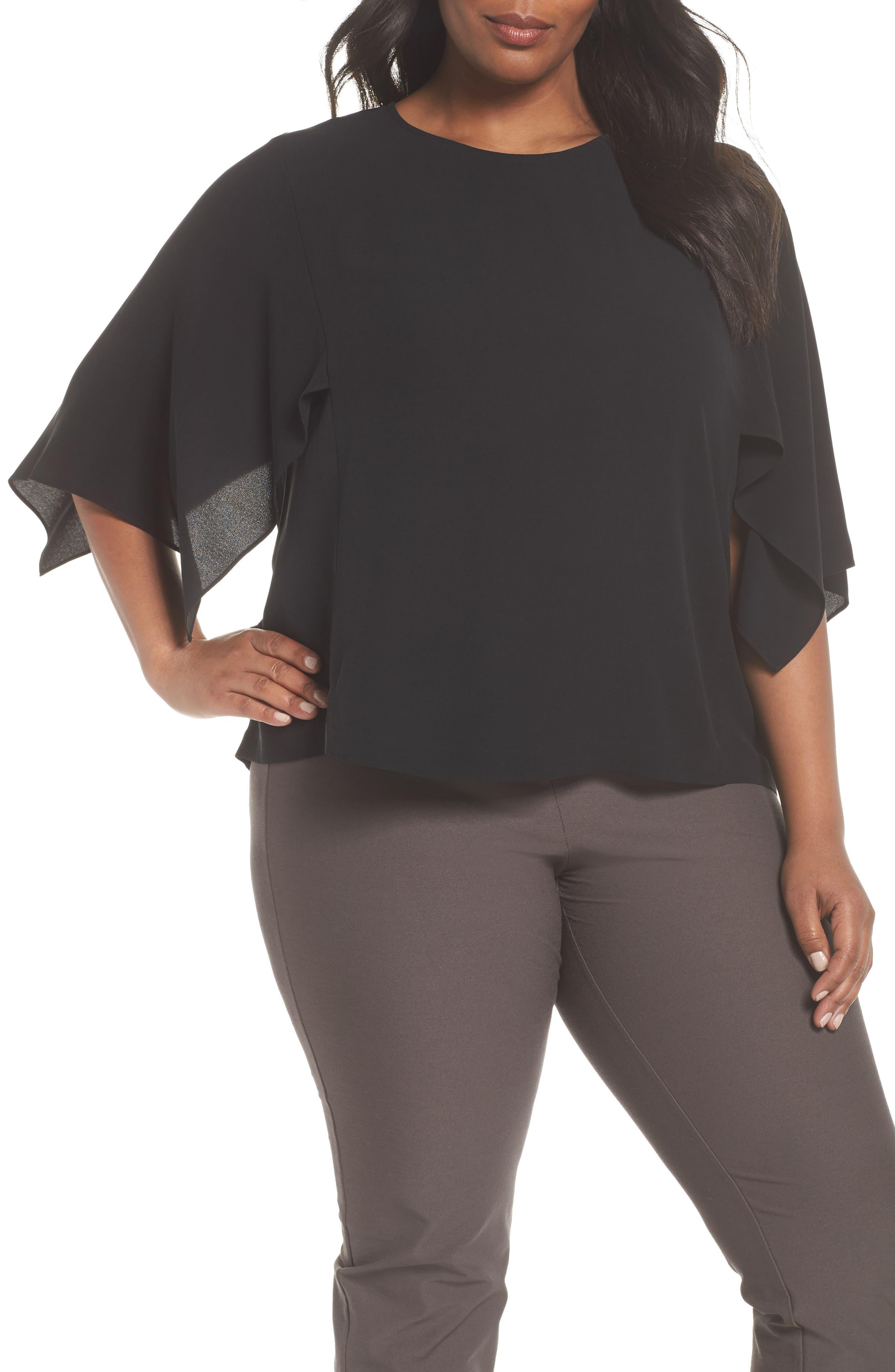 Slit Sleeve Silk Top,                         Main,                         color, 001