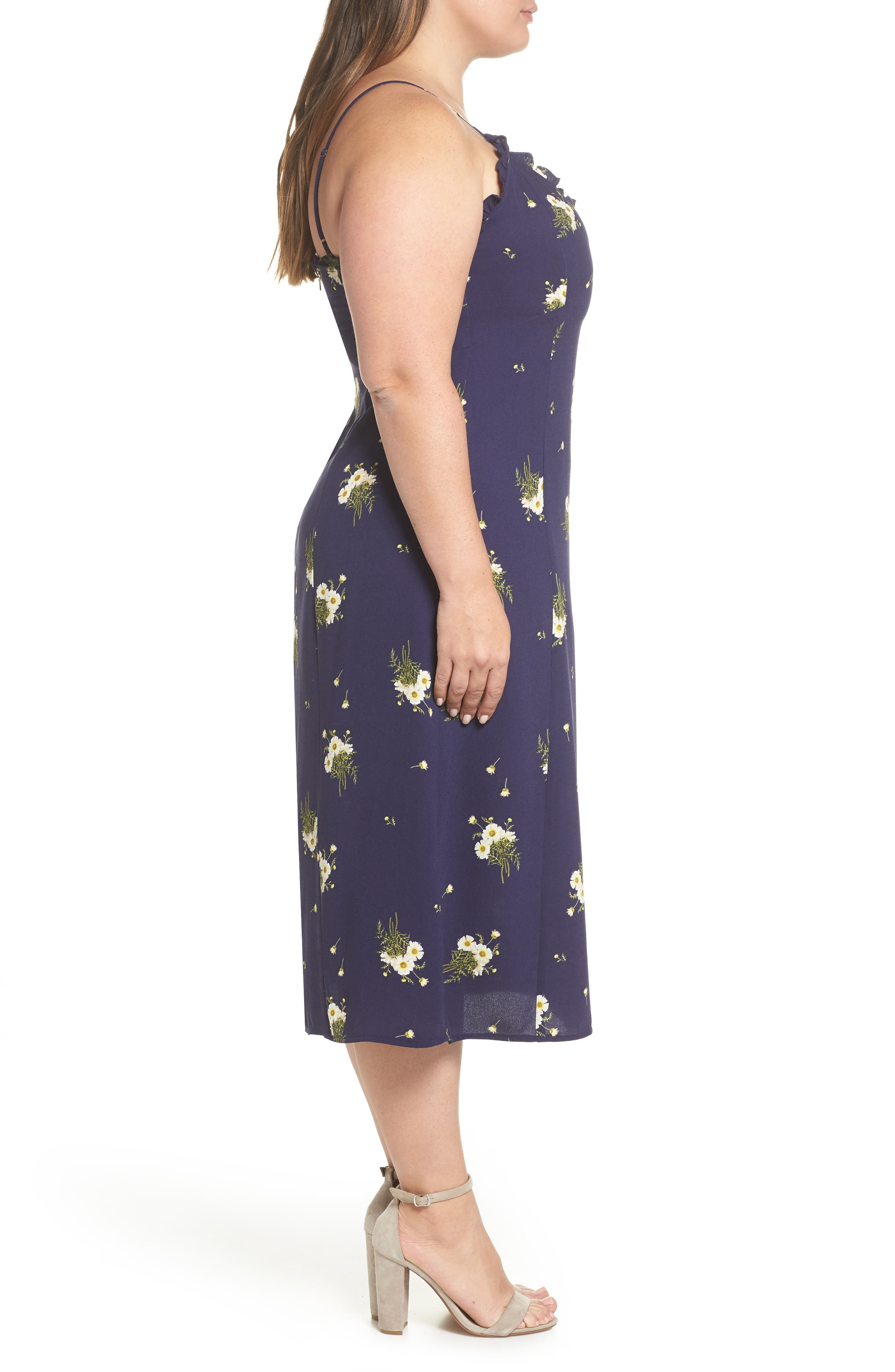 BP.,                             Ruffle Trim Floral Print Midi Dress,                             Alternate thumbnail 10, color,                             NAVY EVENING DAISY