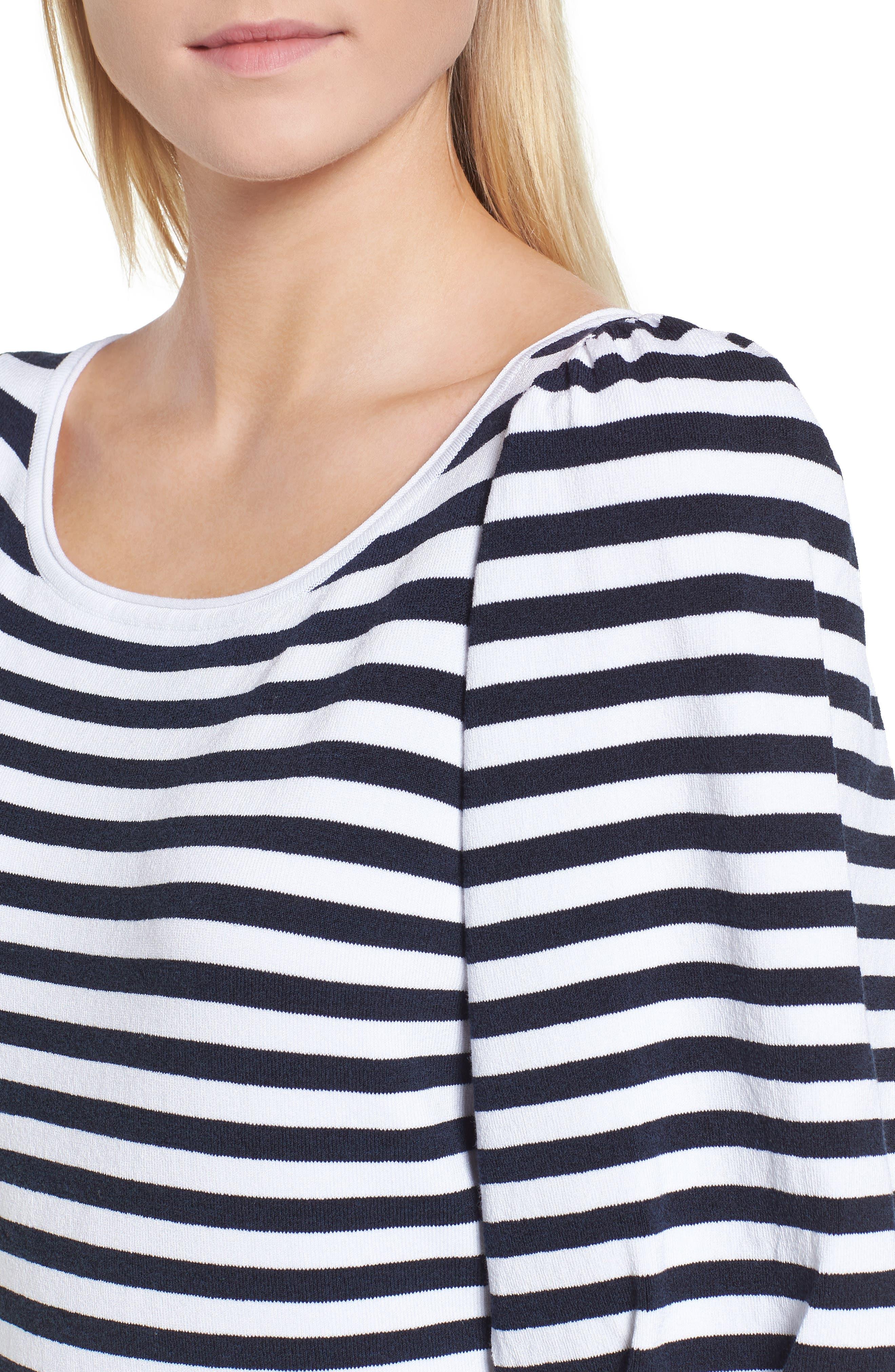 Blouson Sleeve Stripe Sweater,                             Alternate thumbnail 4, color,                             401