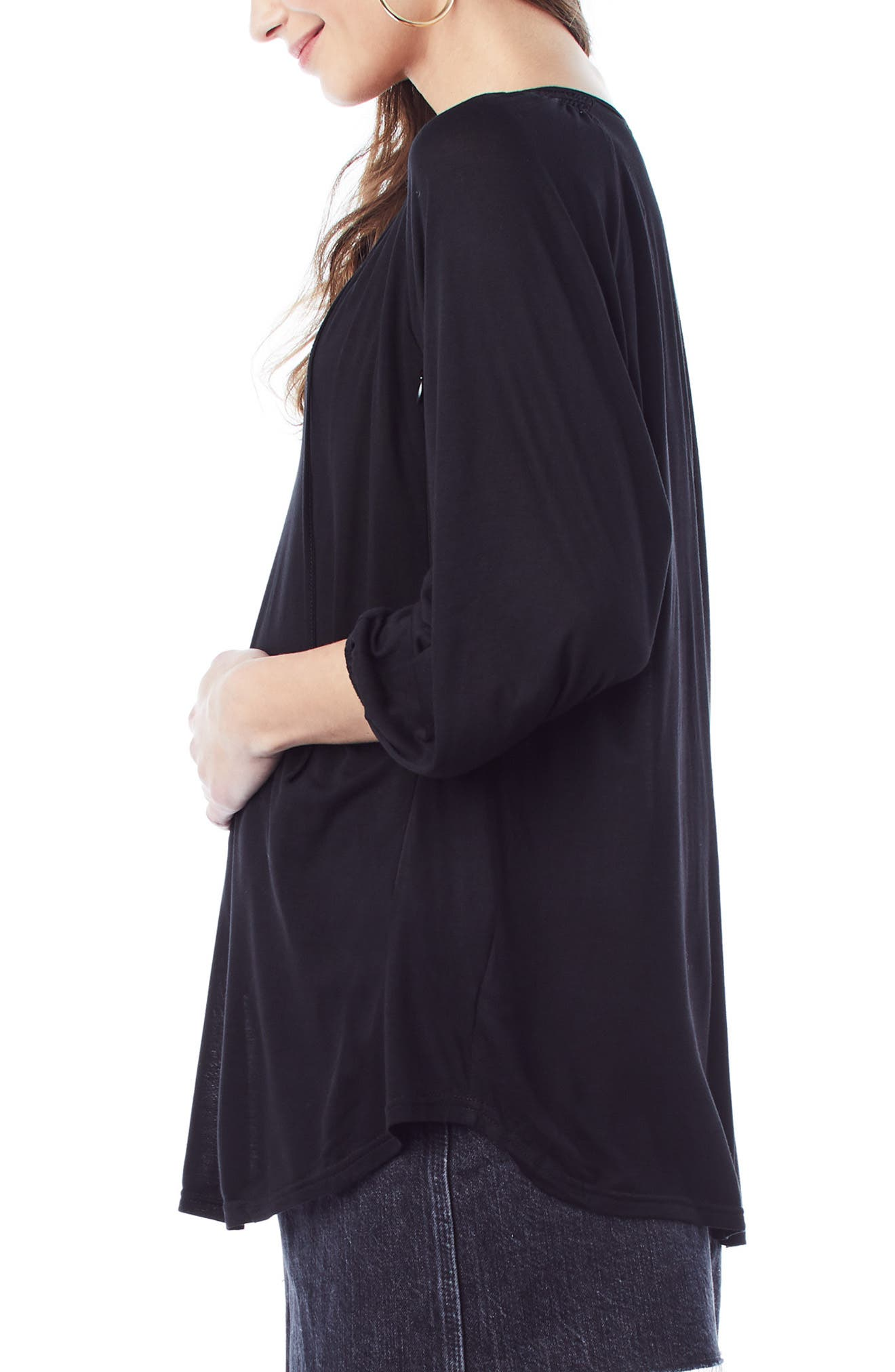 'Megan' Maternity/Nursing Top,                             Alternate thumbnail 3, color,                             BLACK