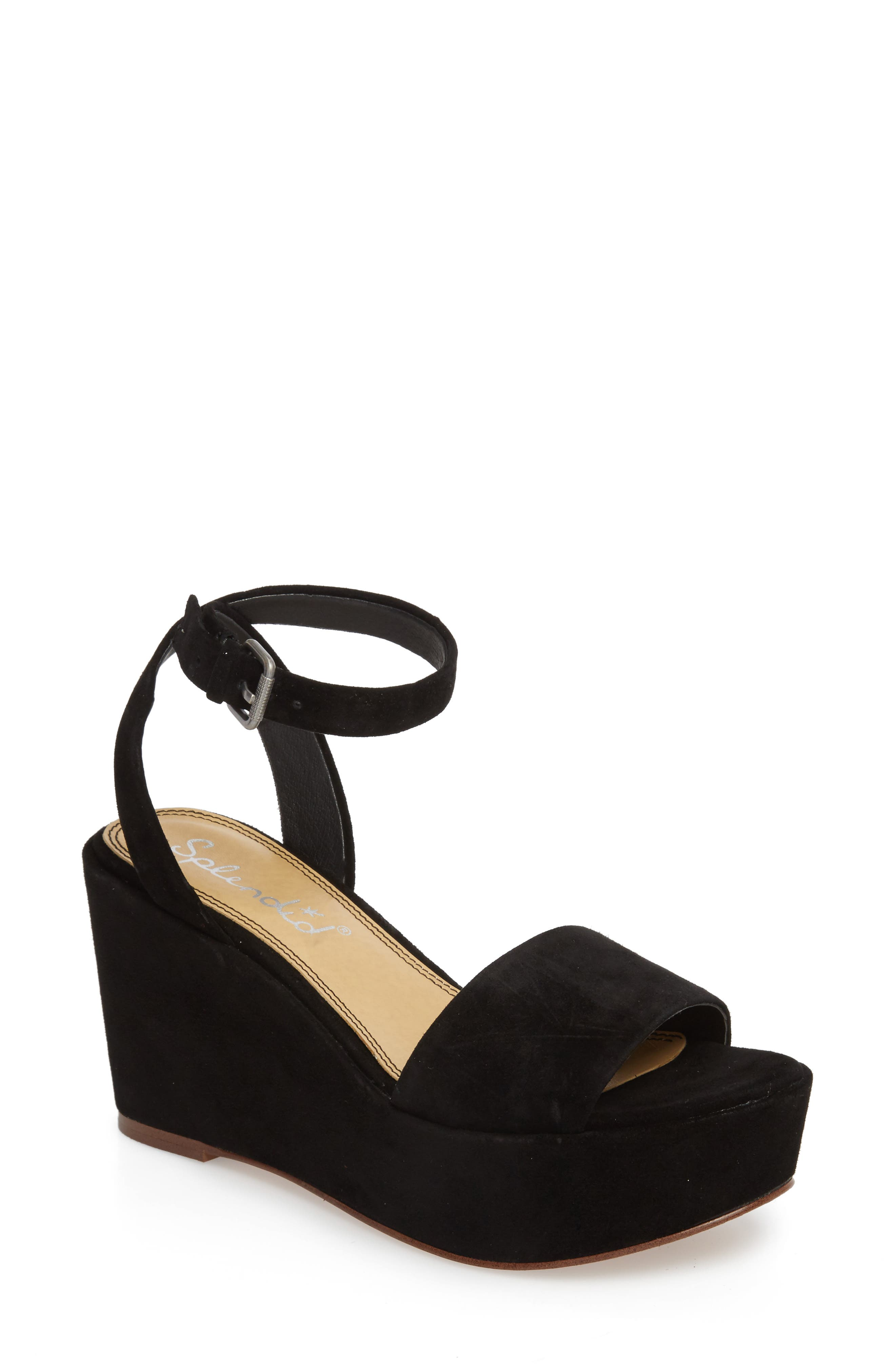 Felix Platform Wedge Sandal,                         Main,                         color, BLACK SUEDE