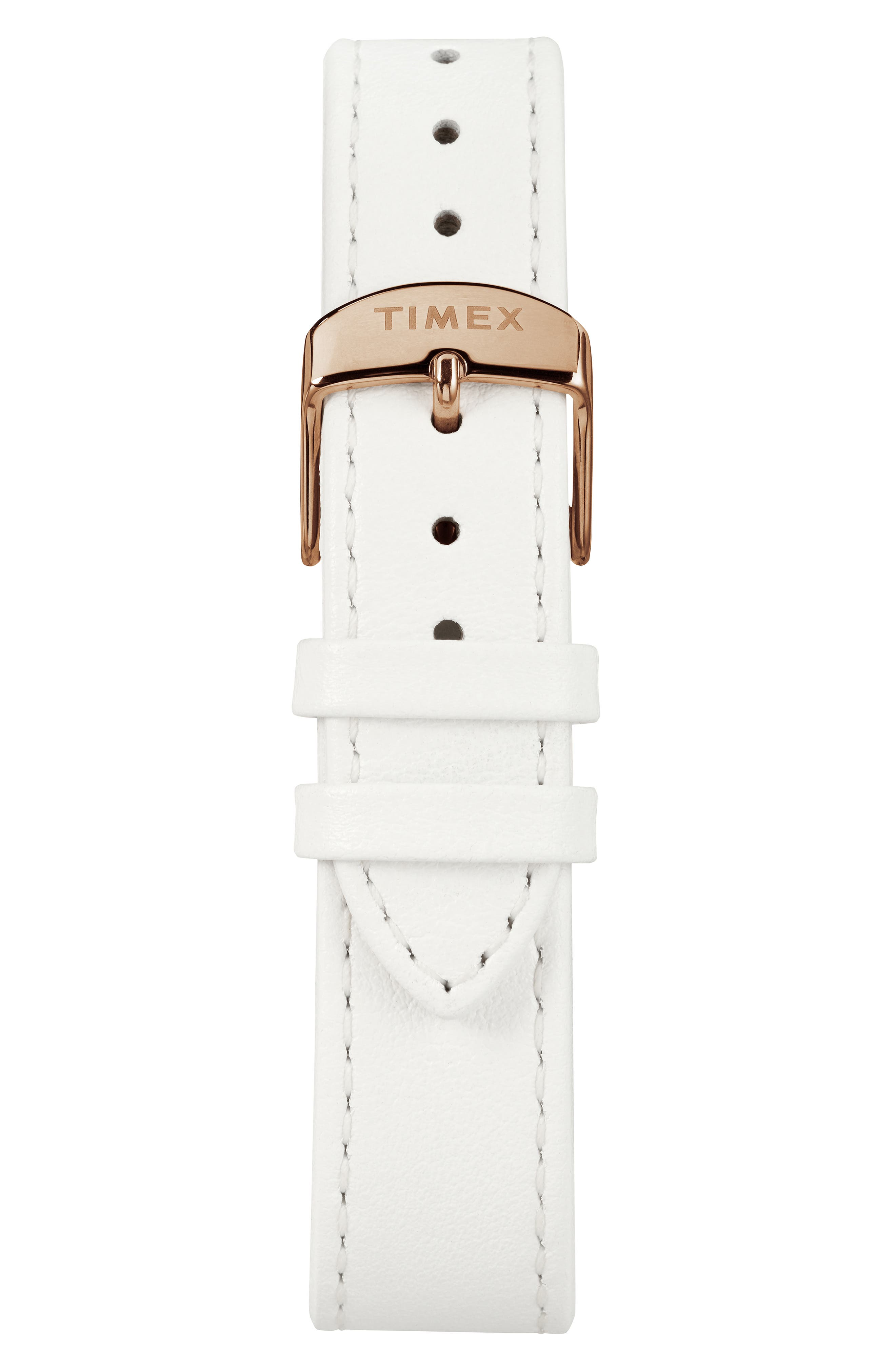 TIMEX<SUP>®</SUP>,                             Marlin Leather Strap Watch, 34mm,                             Alternate thumbnail 2, color,                             WHITE/SUNRAY/ ROSE GOLD