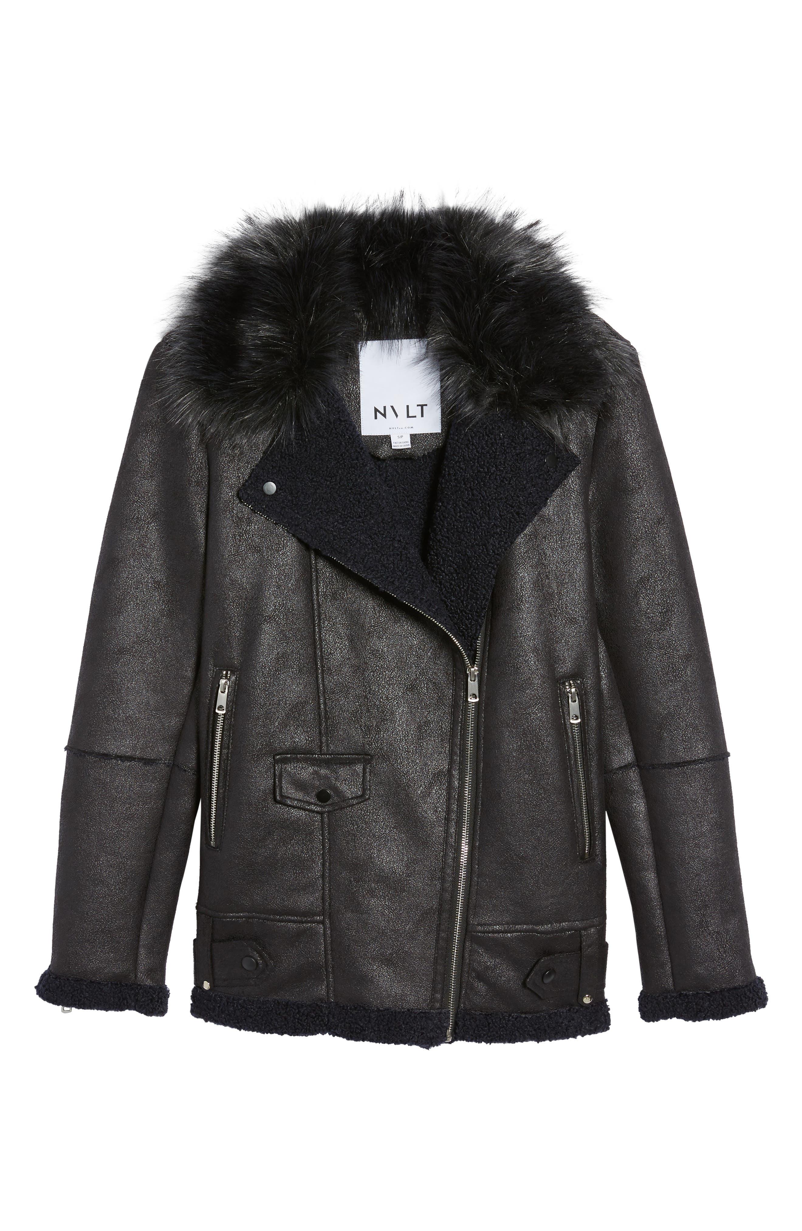 Faux Suede Moto Jacket with Faux Fur Collar,                             Alternate thumbnail 5, color,                             460