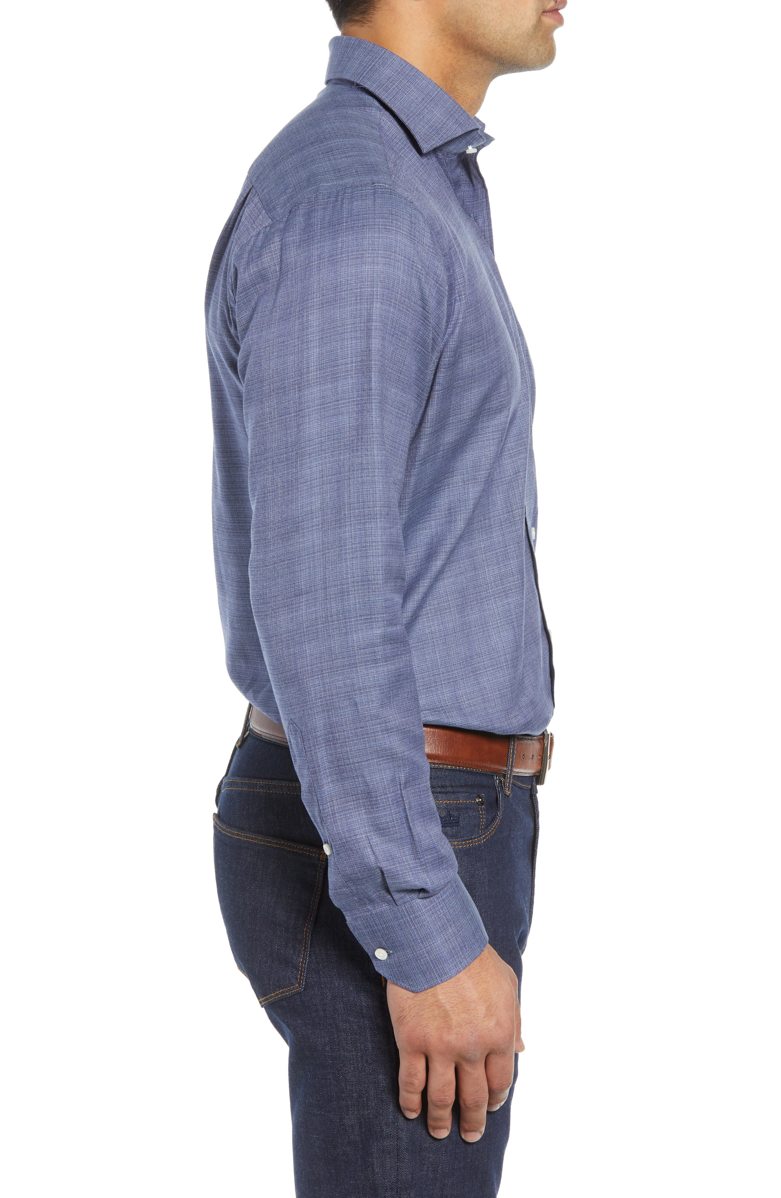 Starlight Regular Fit Chambray Sport Shirt,                             Alternate thumbnail 4, color,                             417