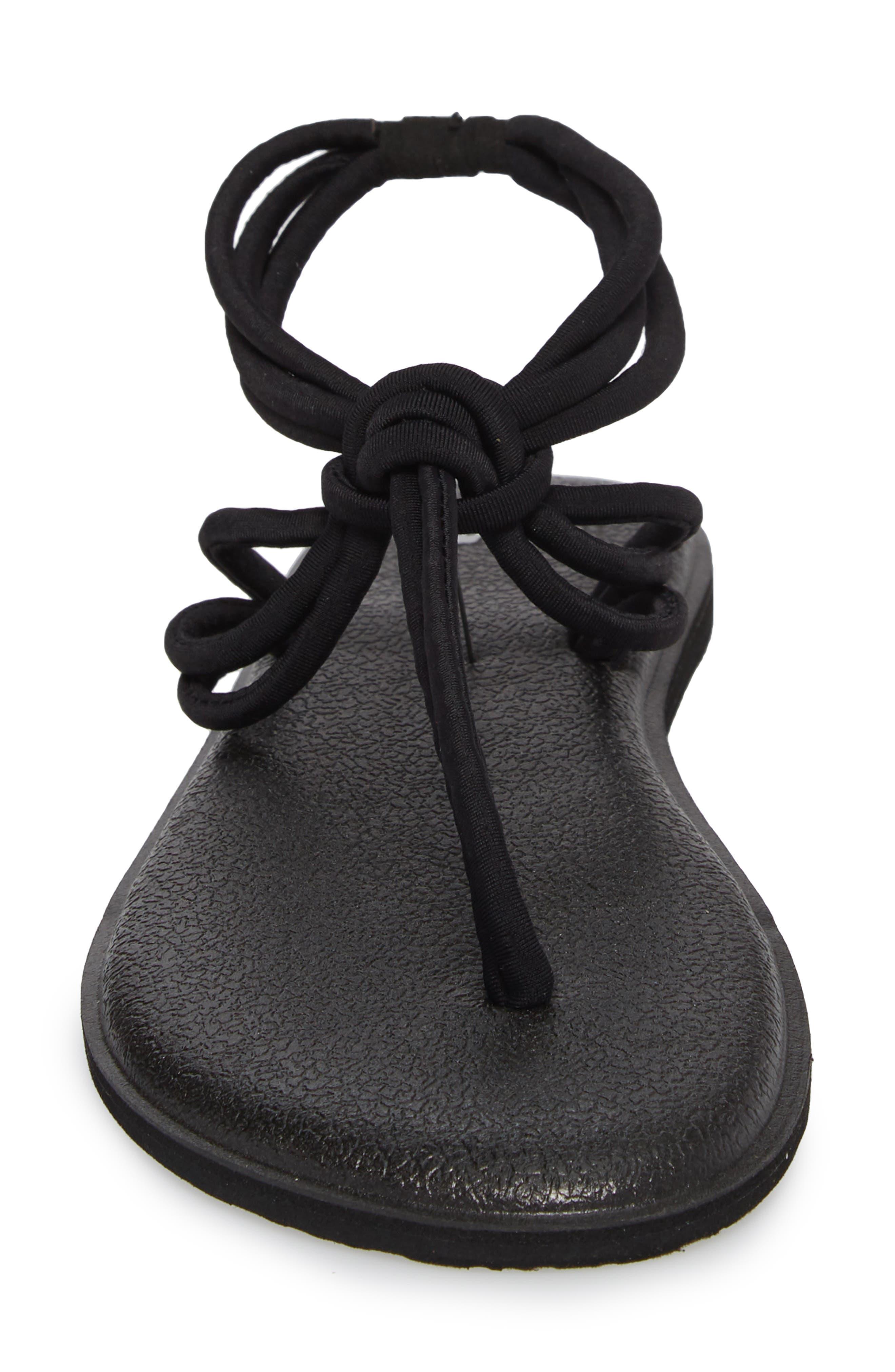 Yoga Sunshine Knotted Thong Sandal,                             Alternate thumbnail 4, color,                             BLACK