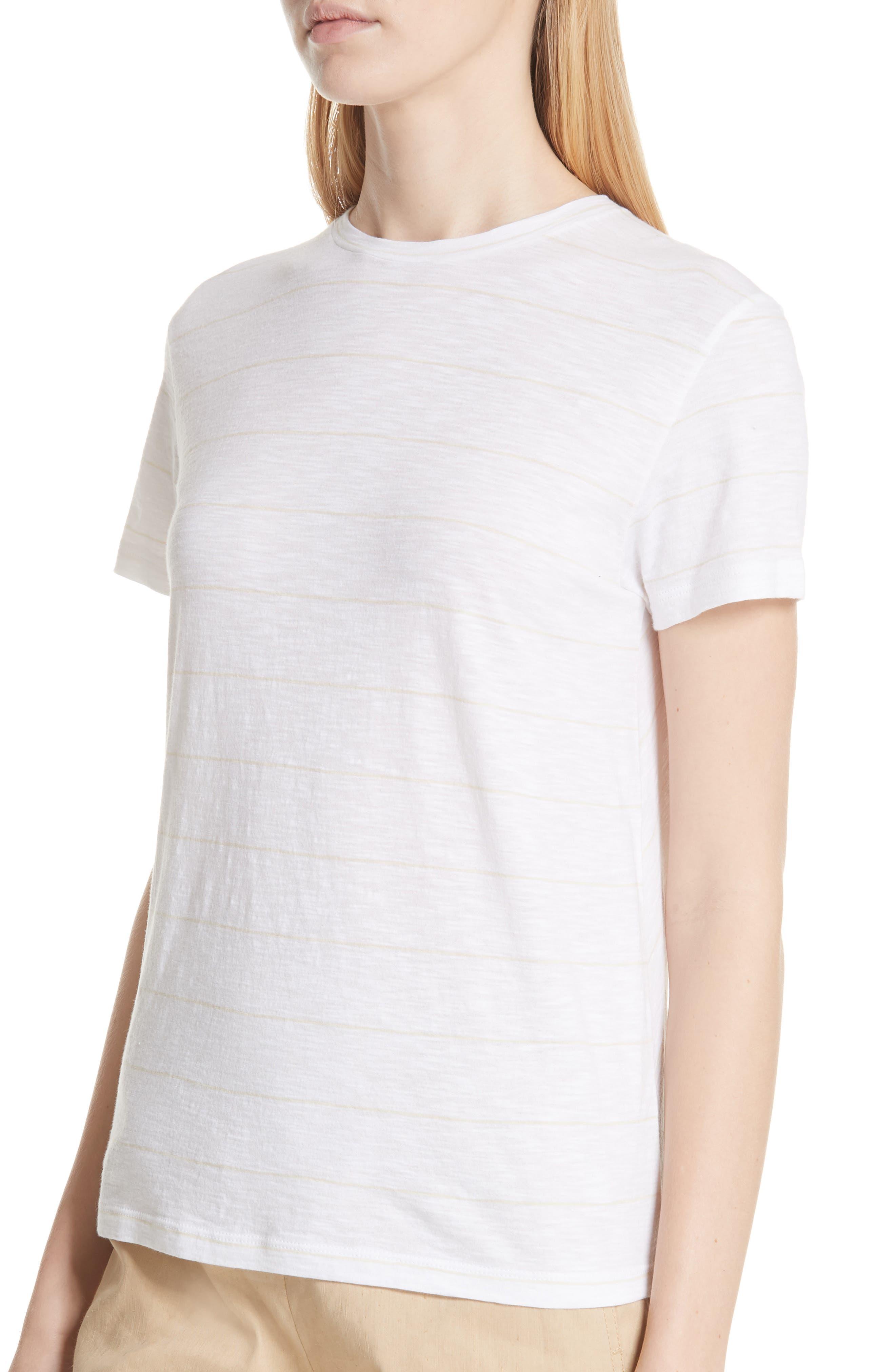Skinny Stripe Pima Cotton Top,                             Alternate thumbnail 4, color,                             106
