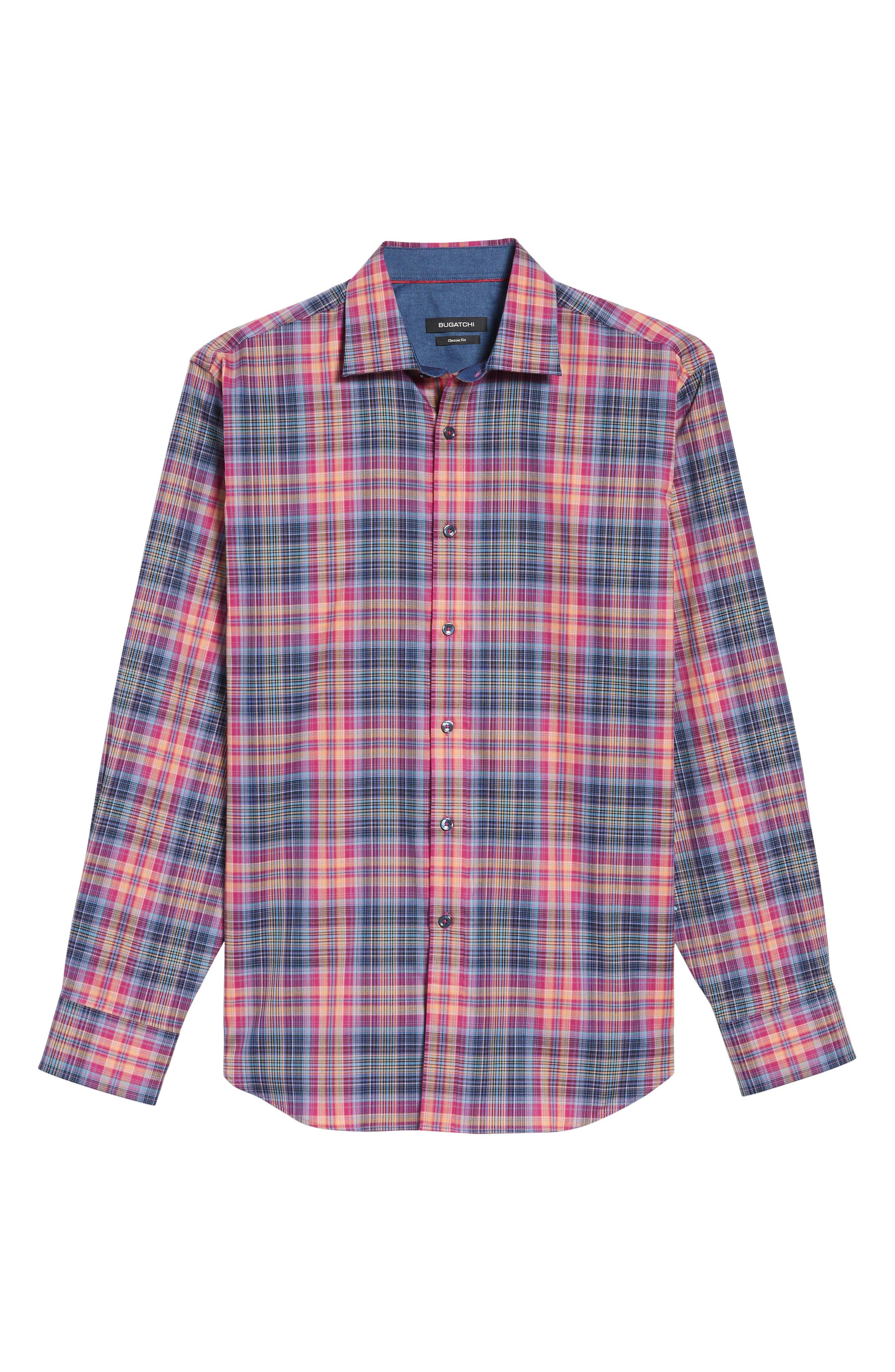 Classic Fit Plaid Sport Shirt,                             Alternate thumbnail 6, color,                             537