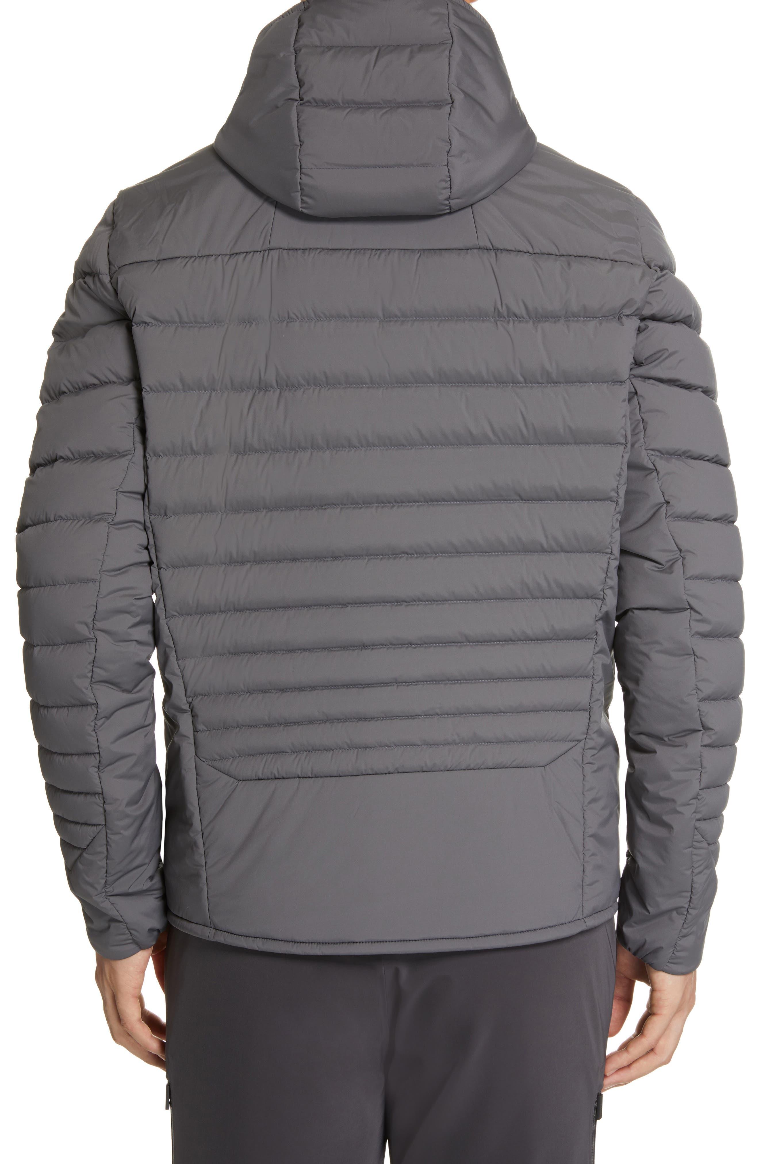 Blackcomb Stretch Hooded Men's Down Fill Jacket,                             Alternate thumbnail 3, color,                             STEEL GREY