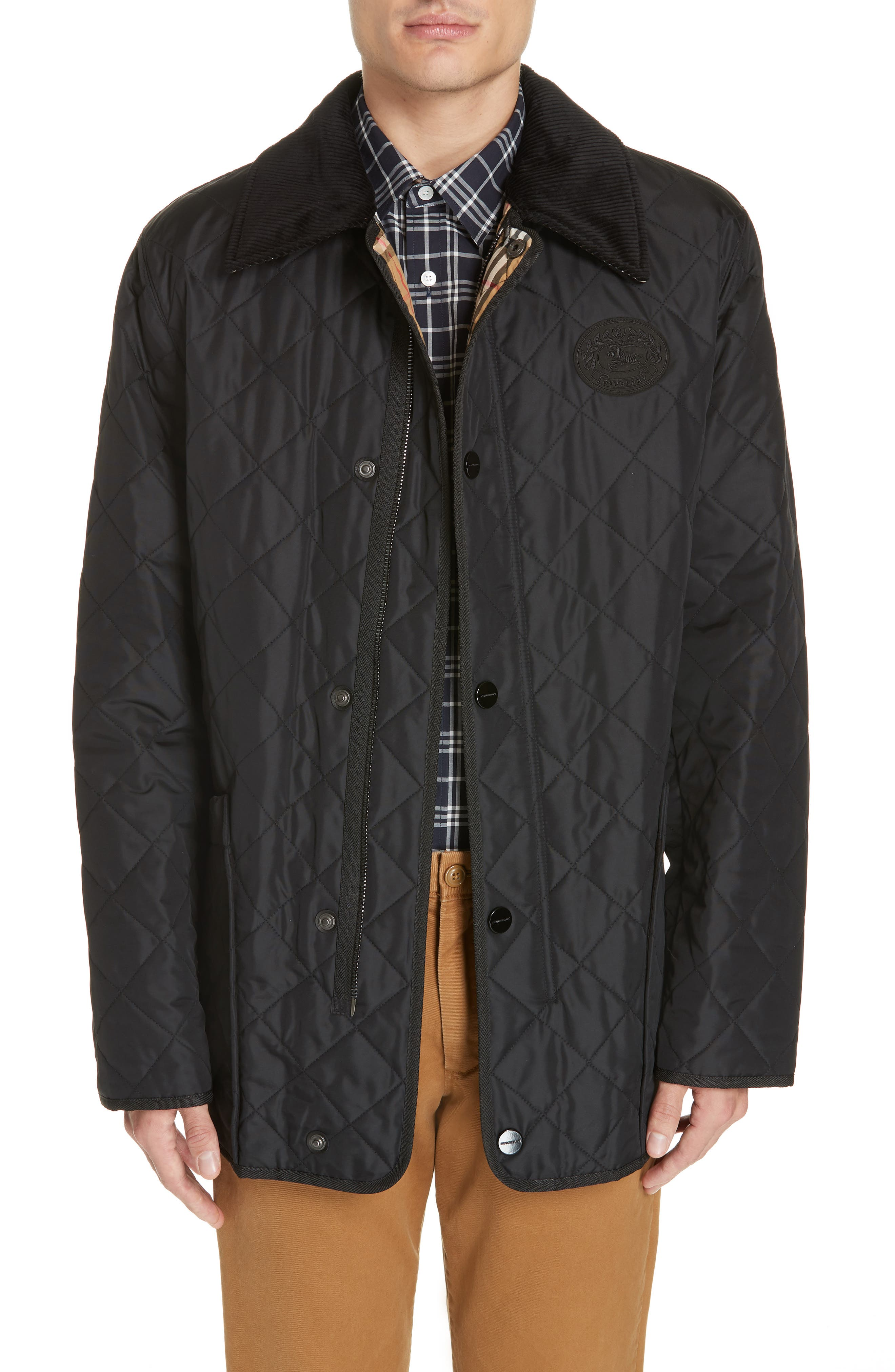 BURBERRY,                             Cotswold Quilted Jacket,                             Main thumbnail 1, color,                             BLACK