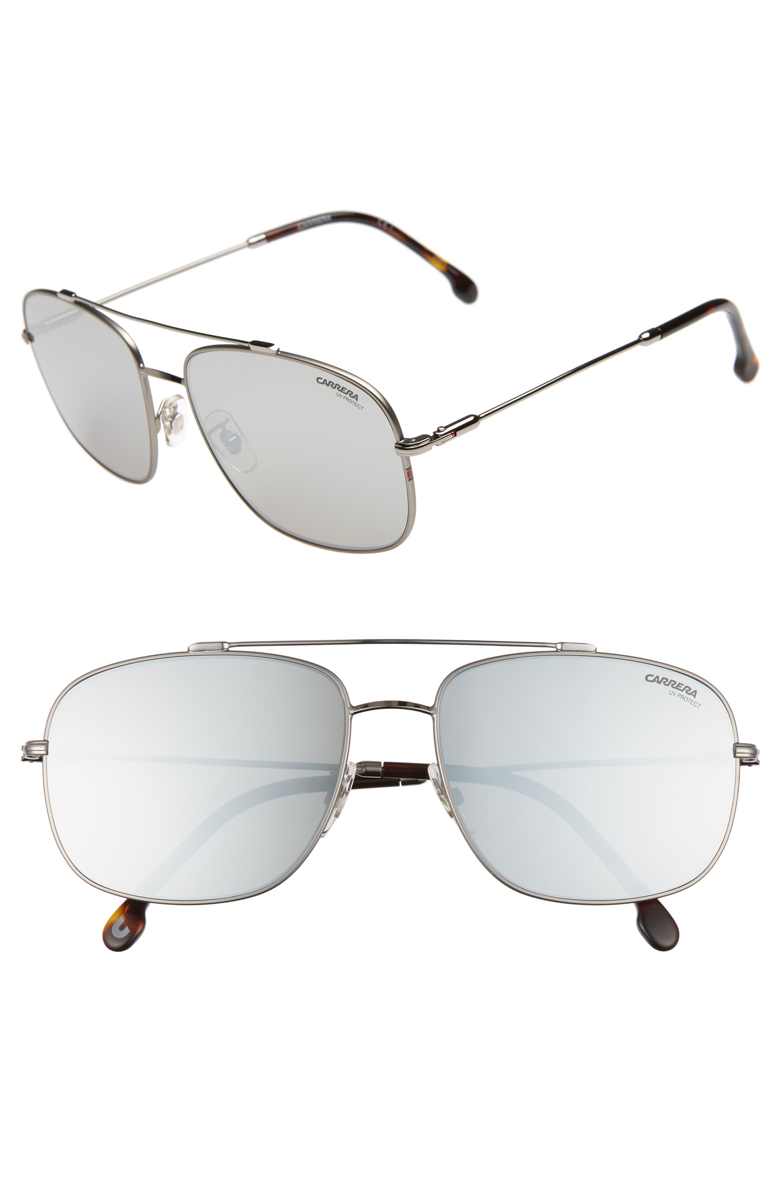 60mm Special Fit Aviator Sunglasses,                         Main,                         color, RUTHENIUM