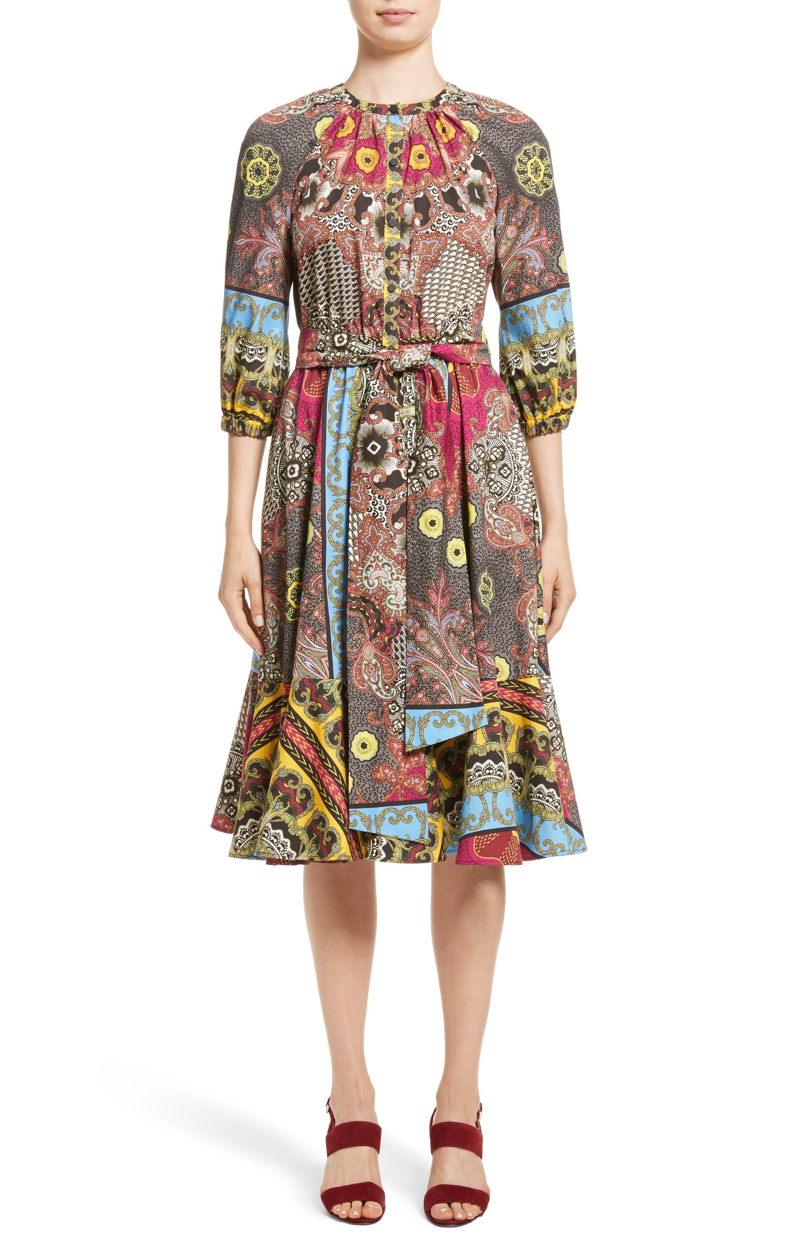 Jungle Paisley Print Cotton Dress,                             Main thumbnail 1, color,                             002