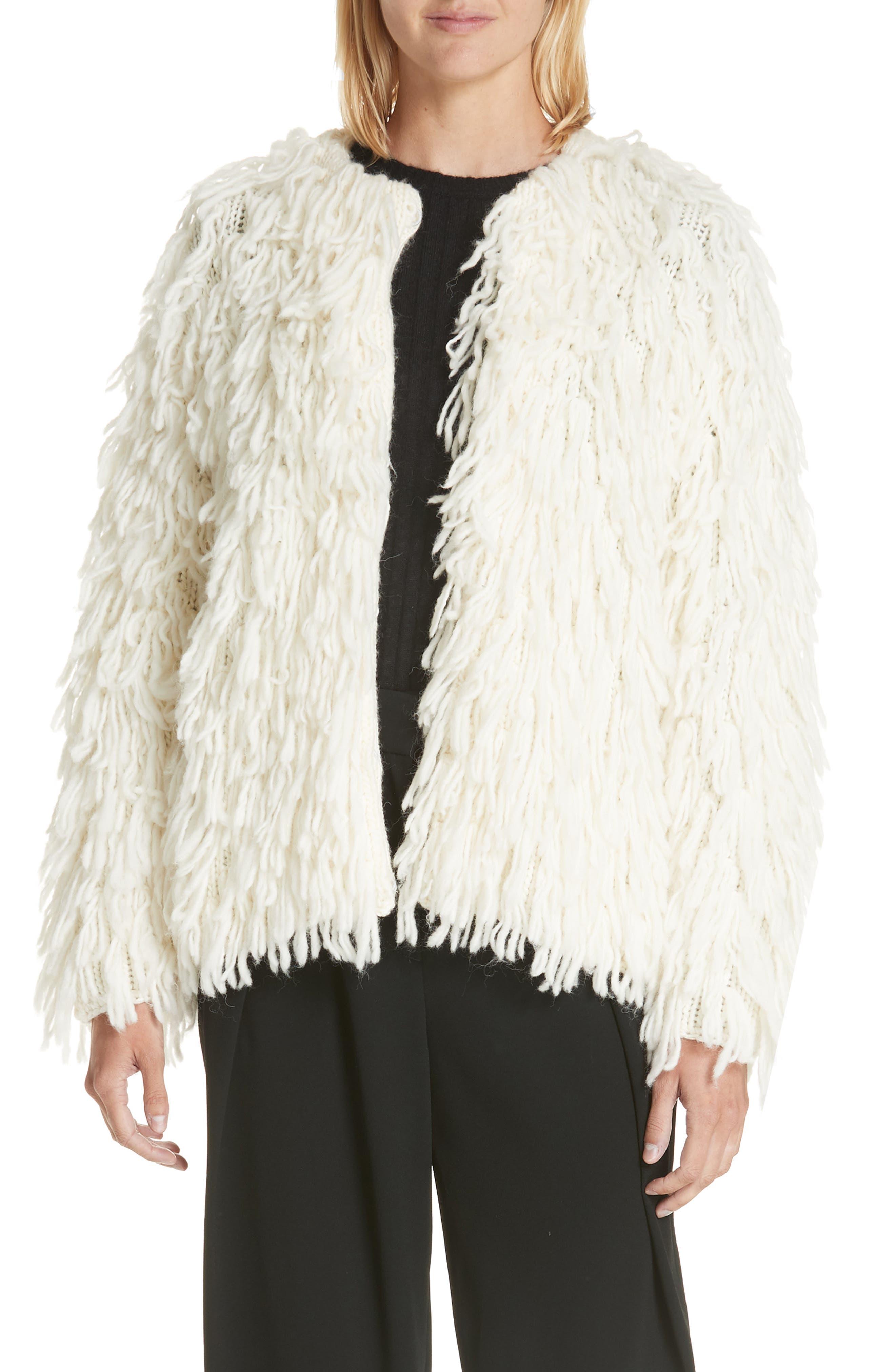 Rag & Bone Amber Wool Sweater Coat, Ivory