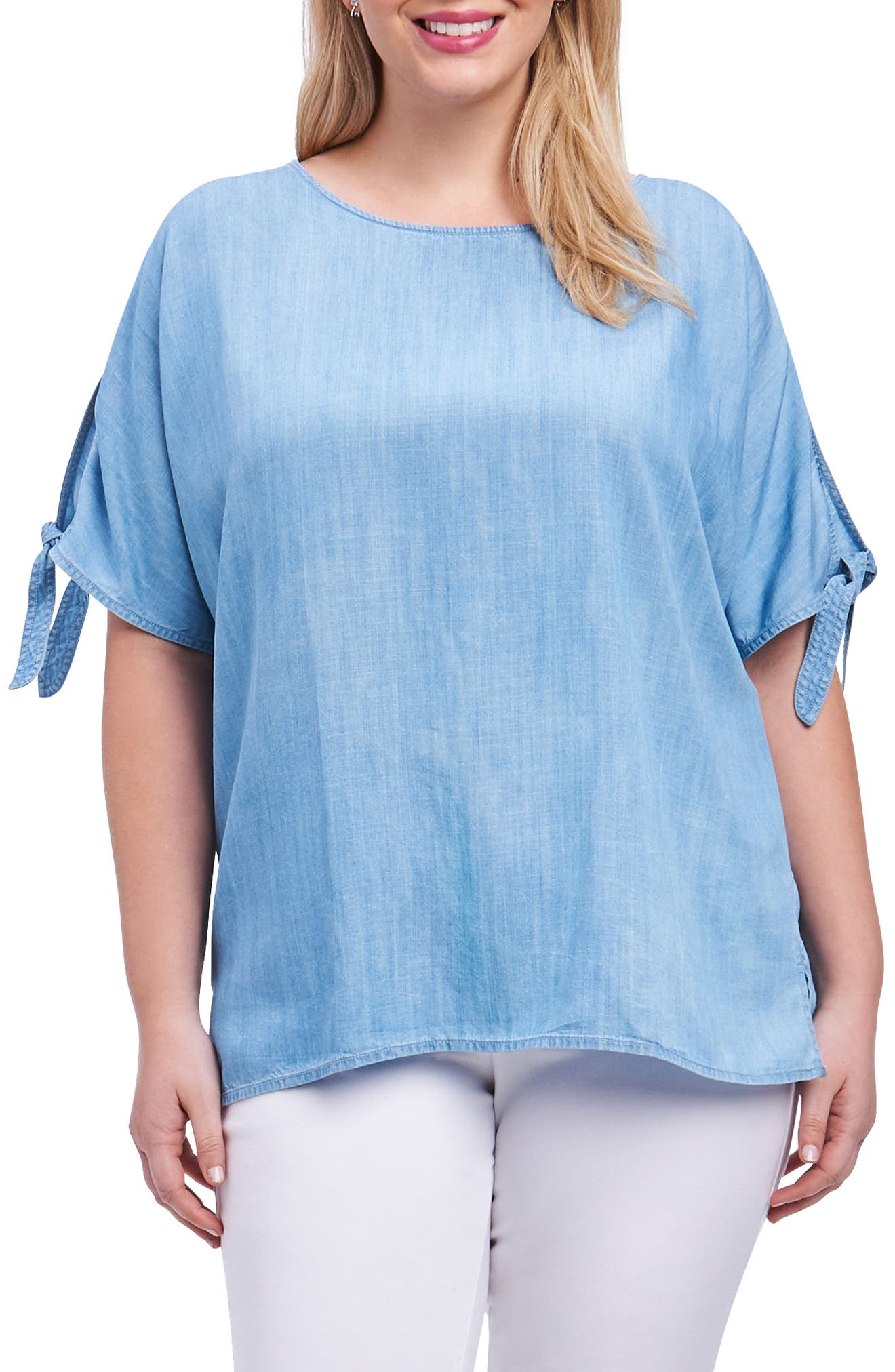 Laura Tie Sleeve Chambray Shirt,                         Main,                         color,