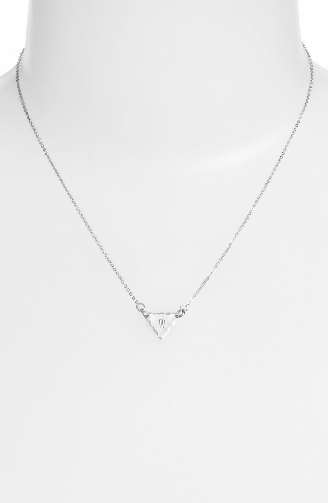 Sterling Silver Initial Mini Triangle Necklace,                             Alternate thumbnail 49, color,