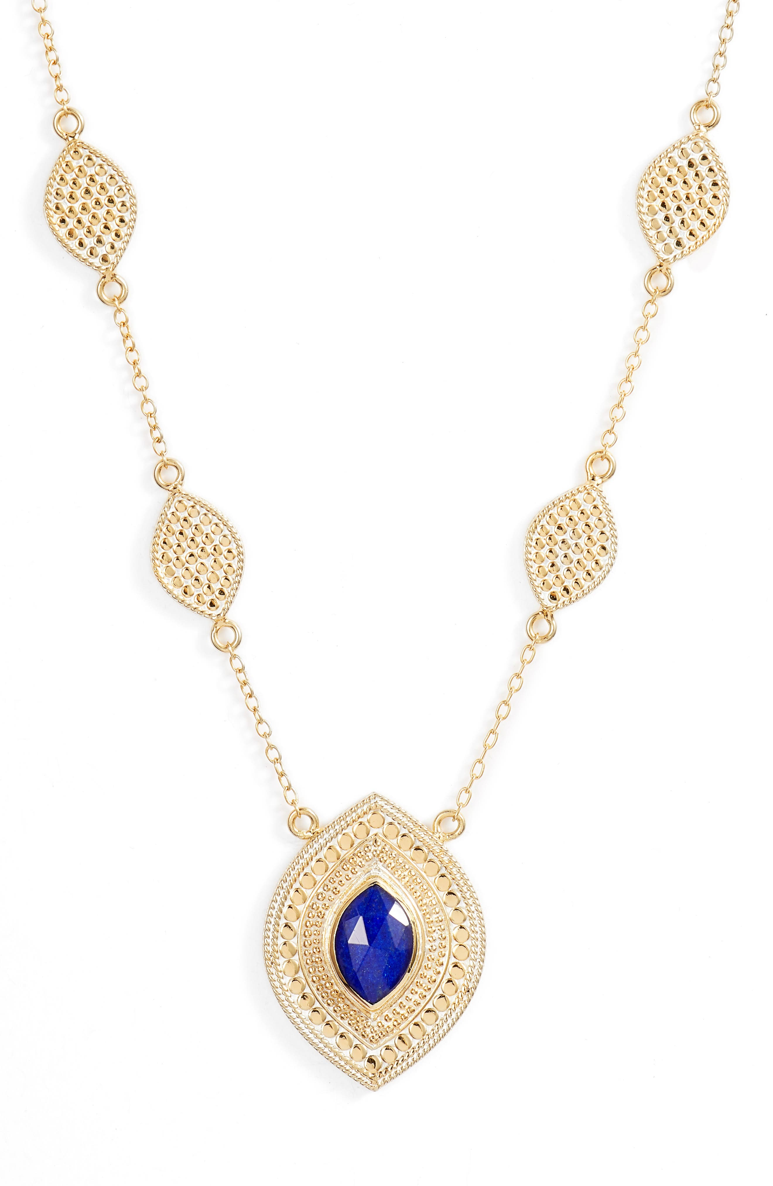 Double Lapis Pendant Station Necklace,                             Main thumbnail 1, color,                             GOLD/ LAPIS