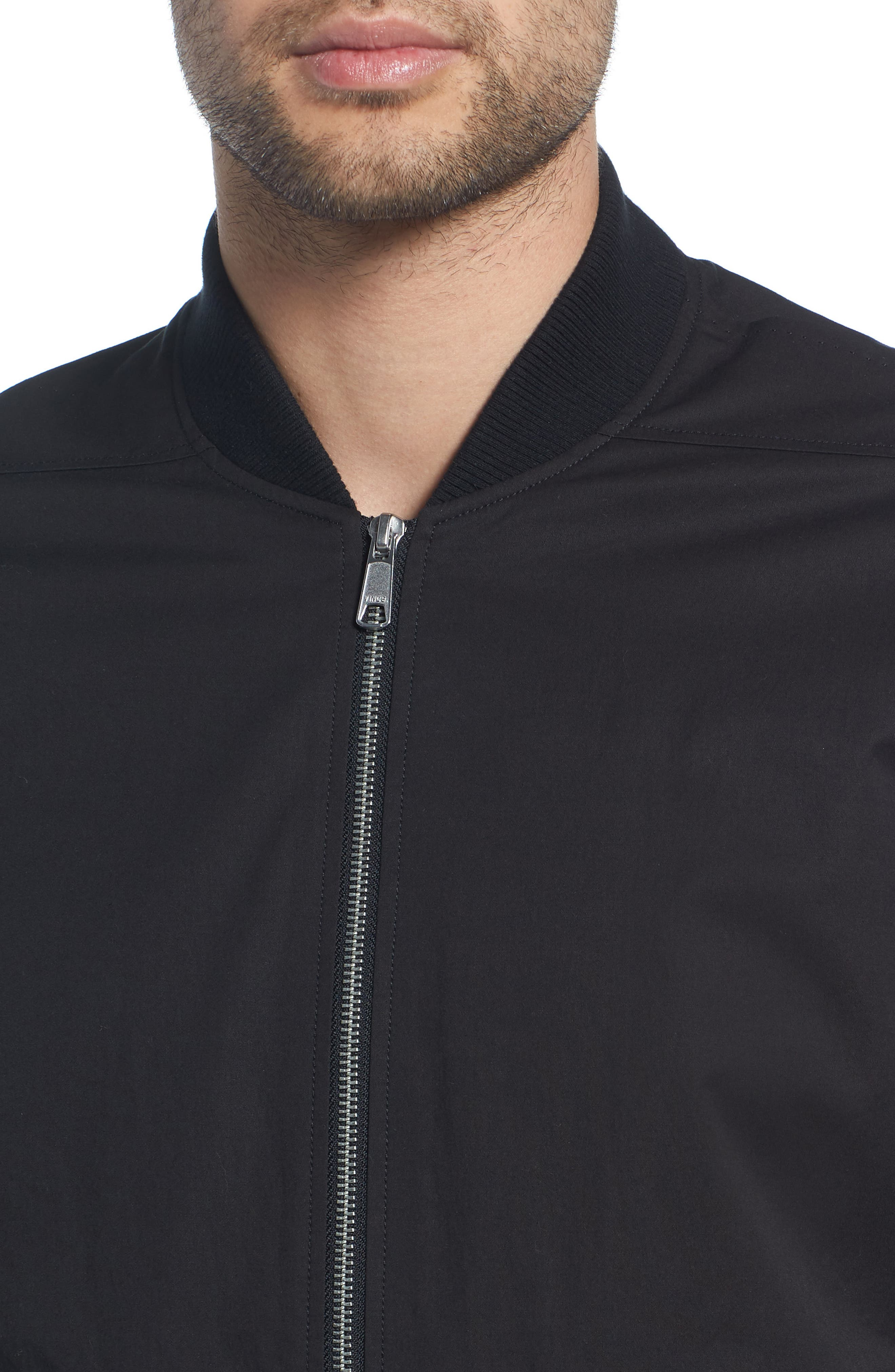 Regular Fit Bomber Jacket,                             Alternate thumbnail 4, color,                             BLACK